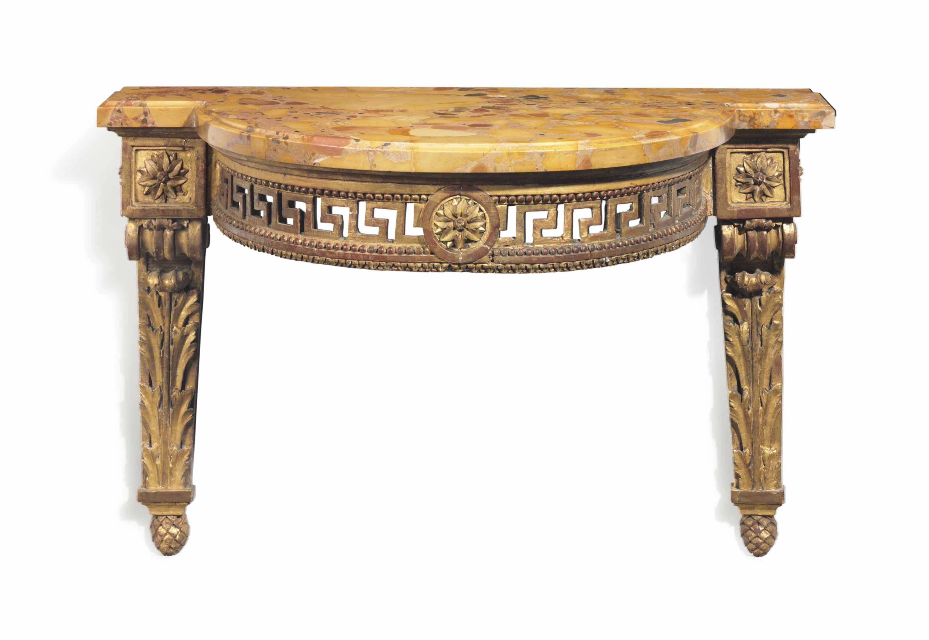 A LOUIS XVI GILTWOOD CONSOLE TABLE