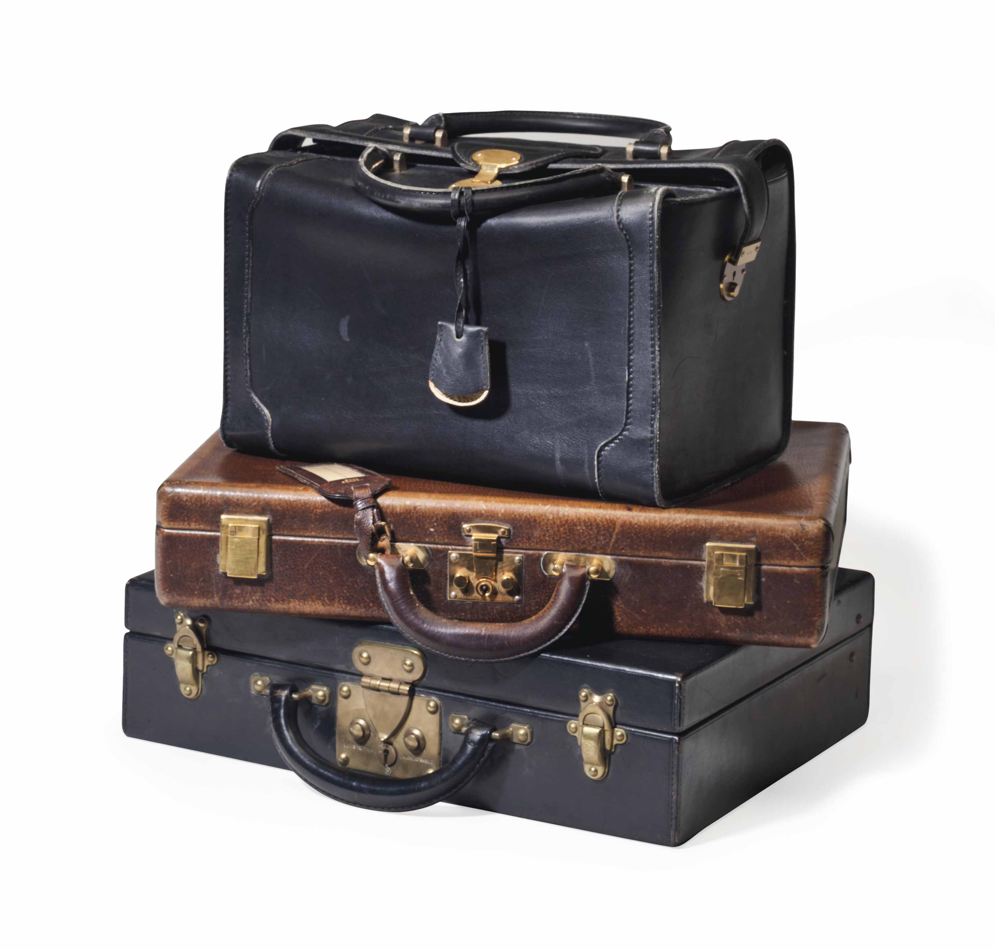THREE PIECES OF MEN'S LEATHER HAND LUGGAGE