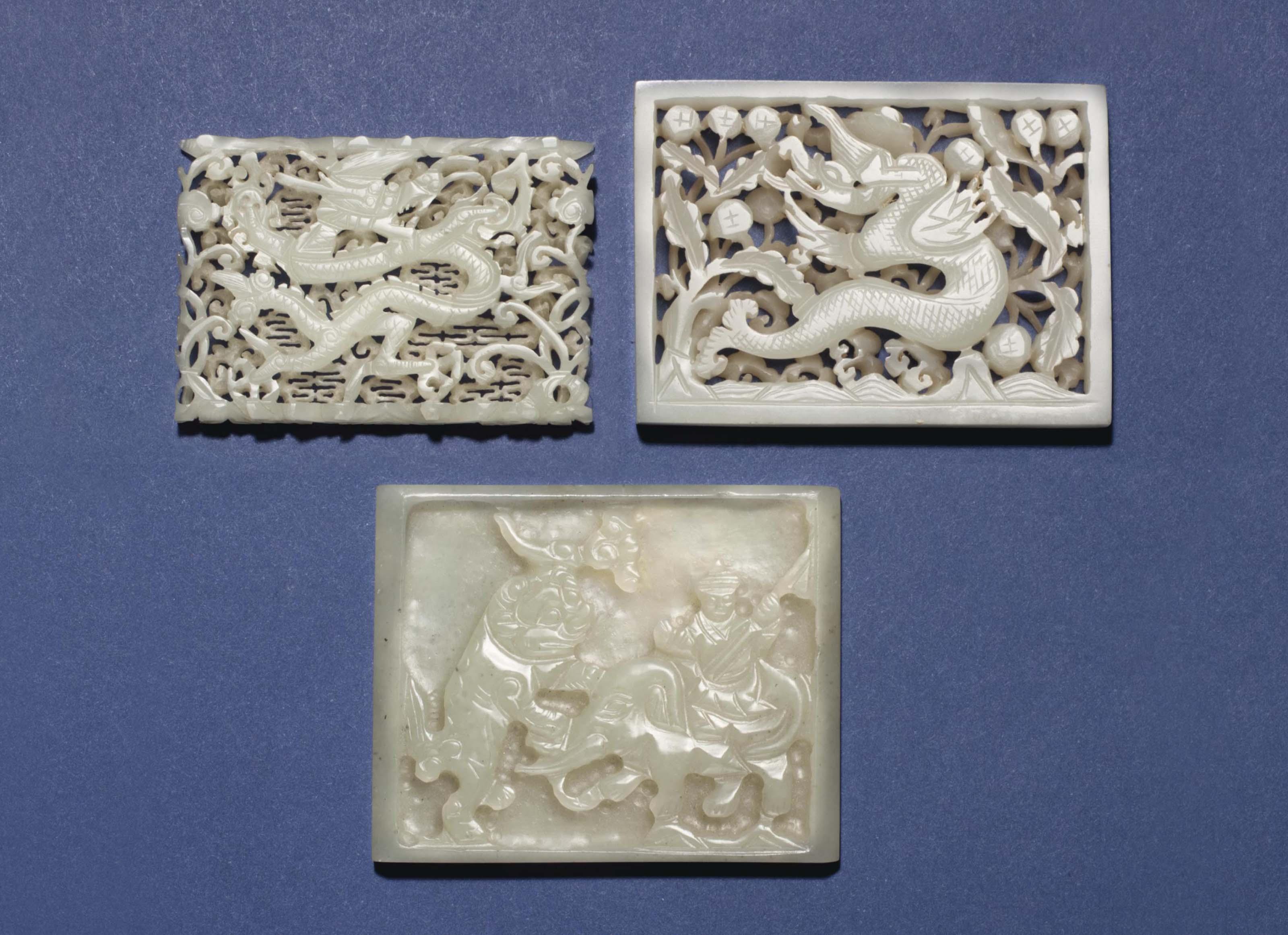 THREE PALE GREENISH-WHITE JADE