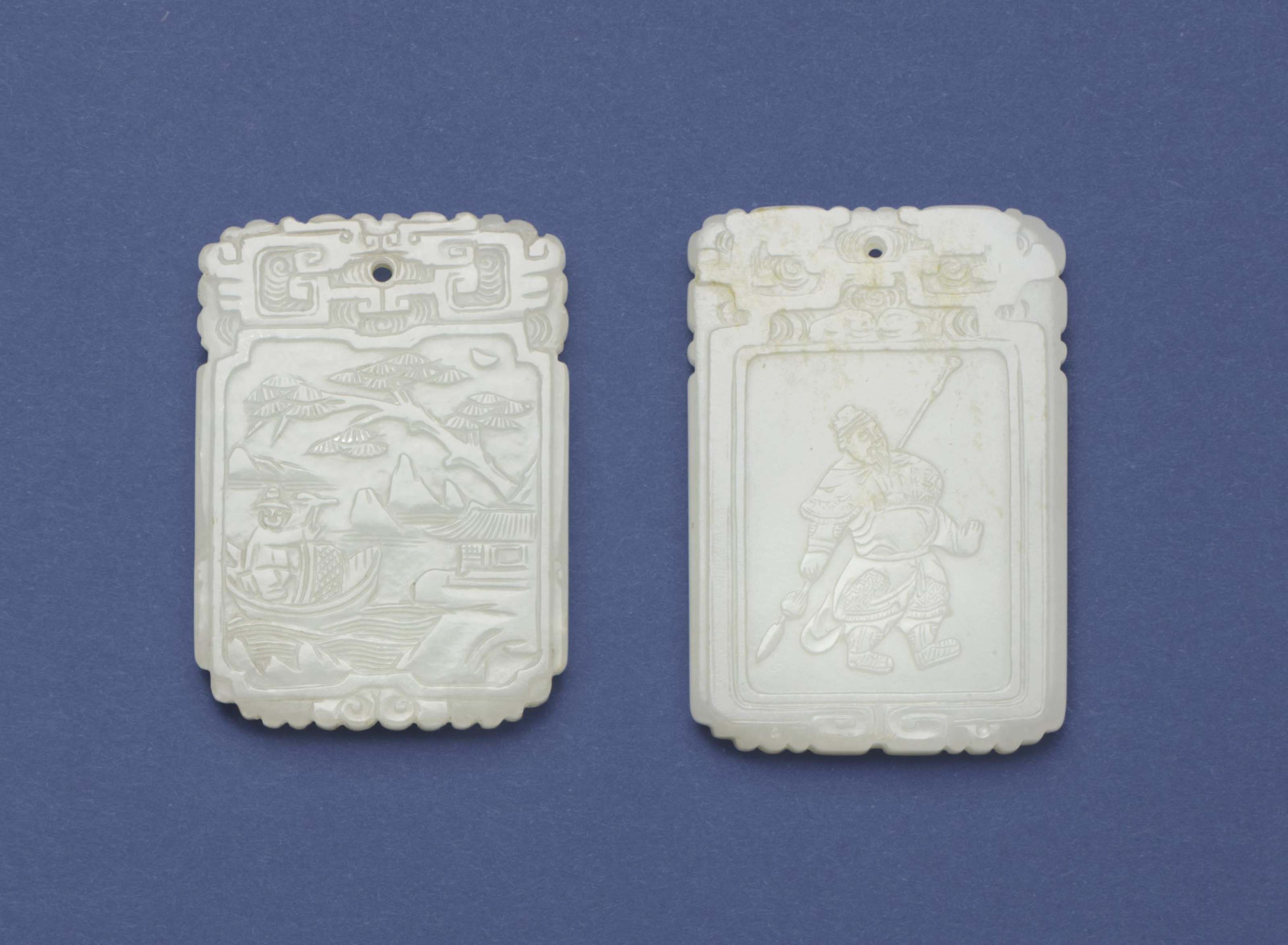 TWO WHITE JADE SHAPED RECTANGU