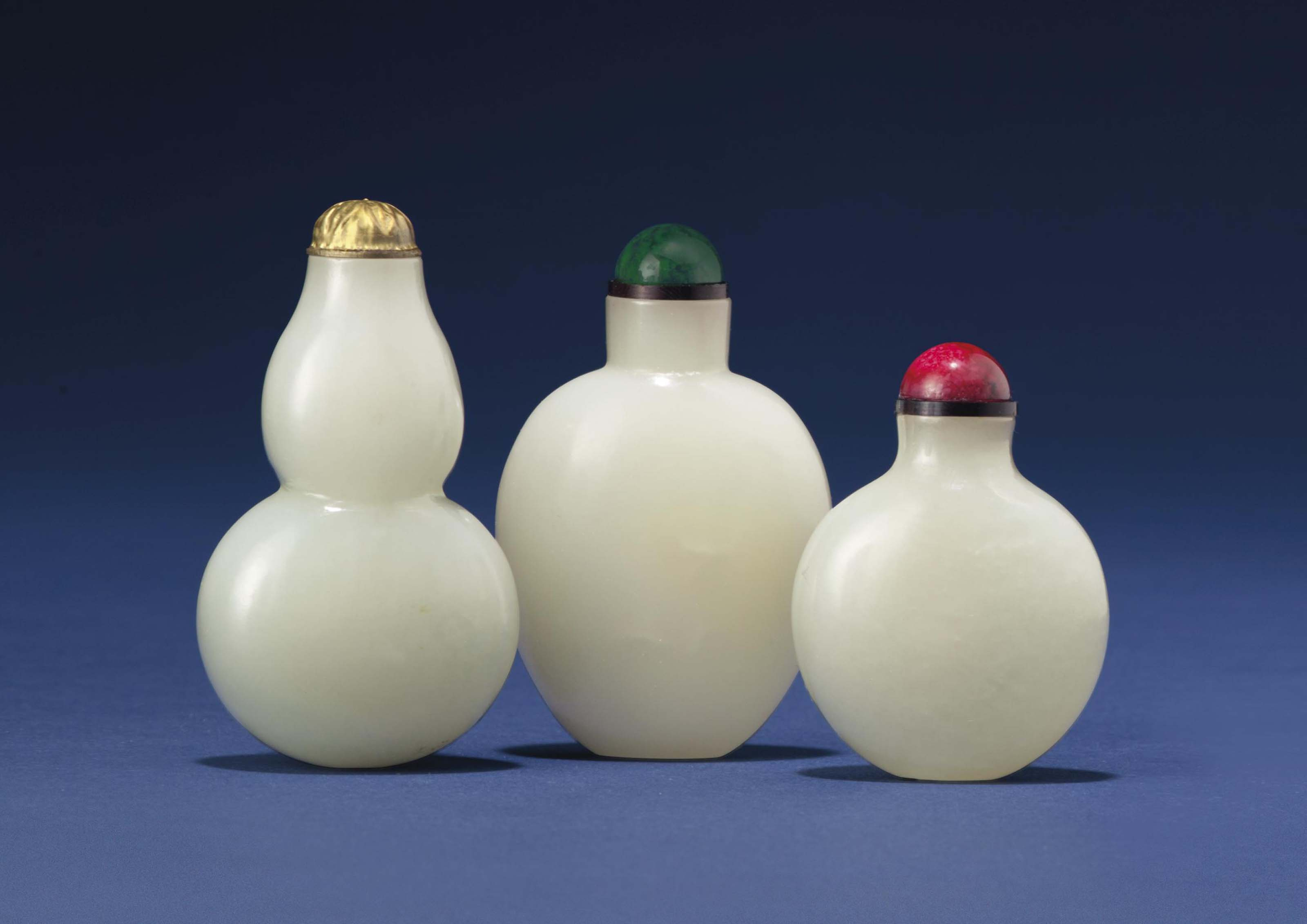 THREE SMALL PALE GREENISH-WHIT