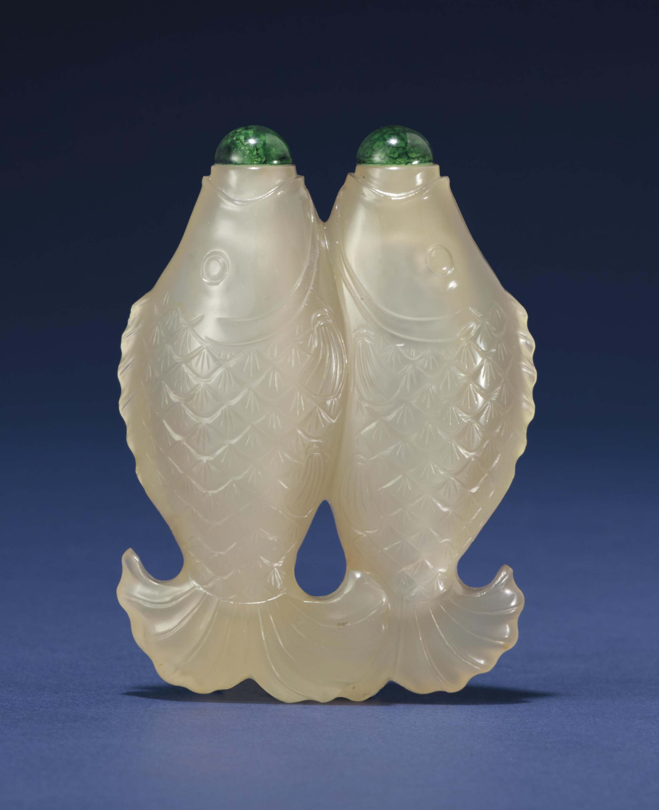 AN UNUSUAL AGATE DOUBLE-FISH S