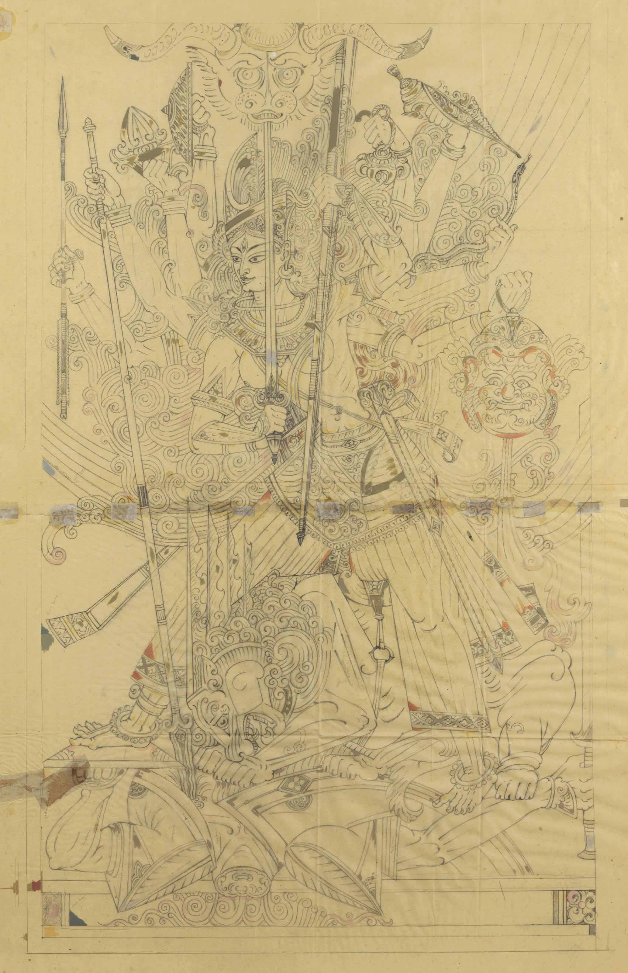 Untitled (Prepatory Drawing for Mahishasura Mardini)