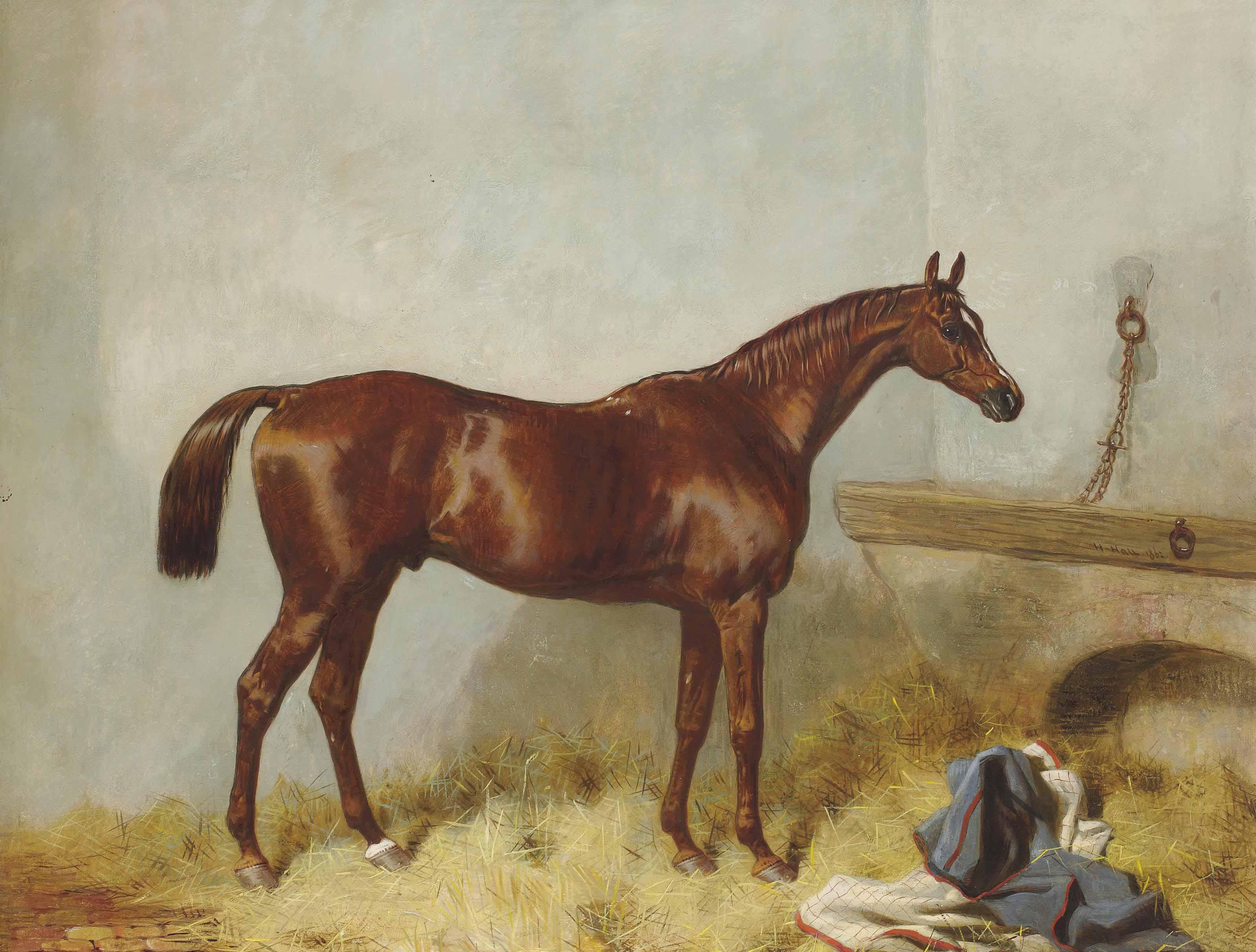 Un cheval alezan dans une étable