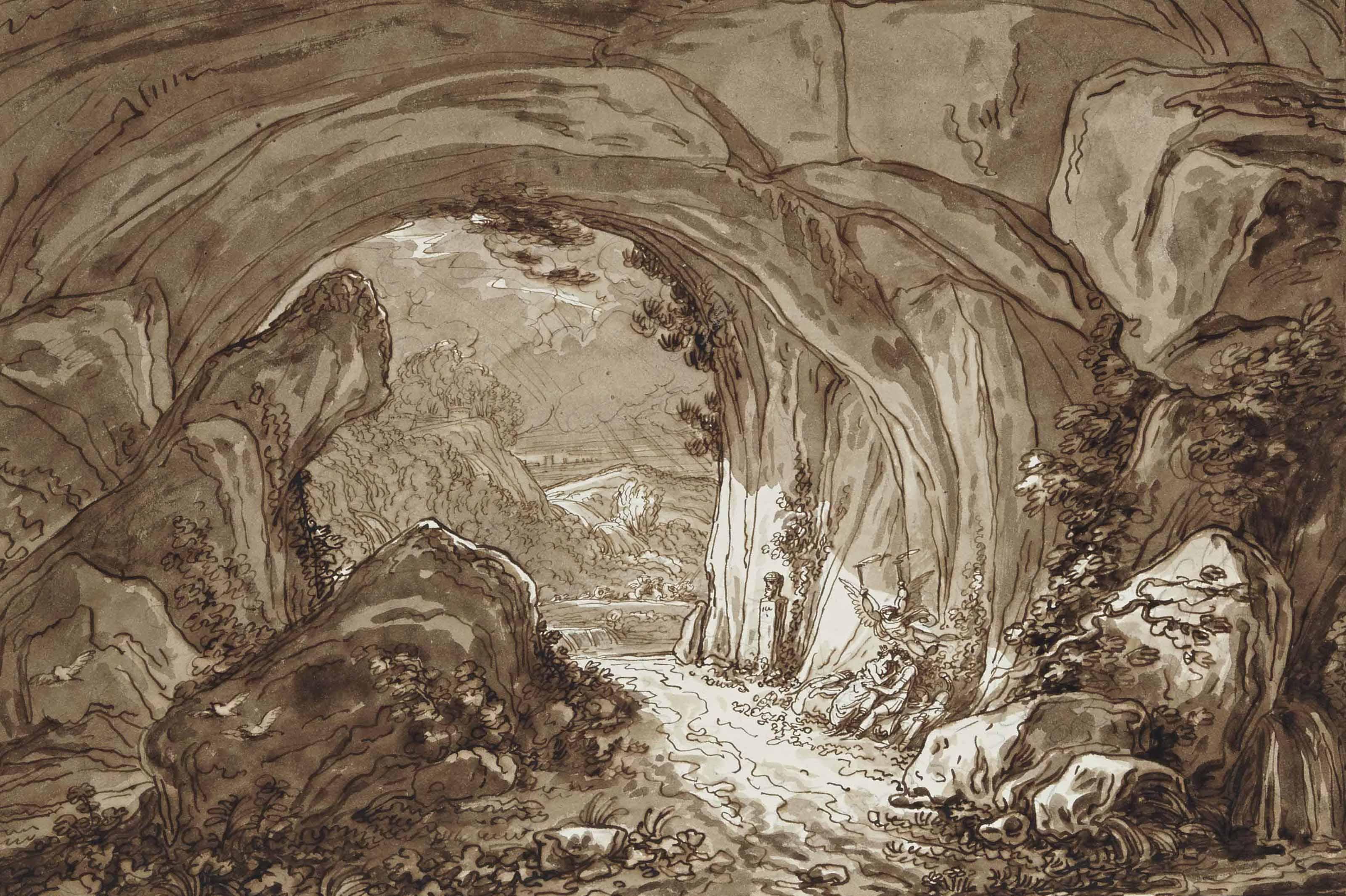 Didon et Enée s'abritant de l'orage dans une grotte