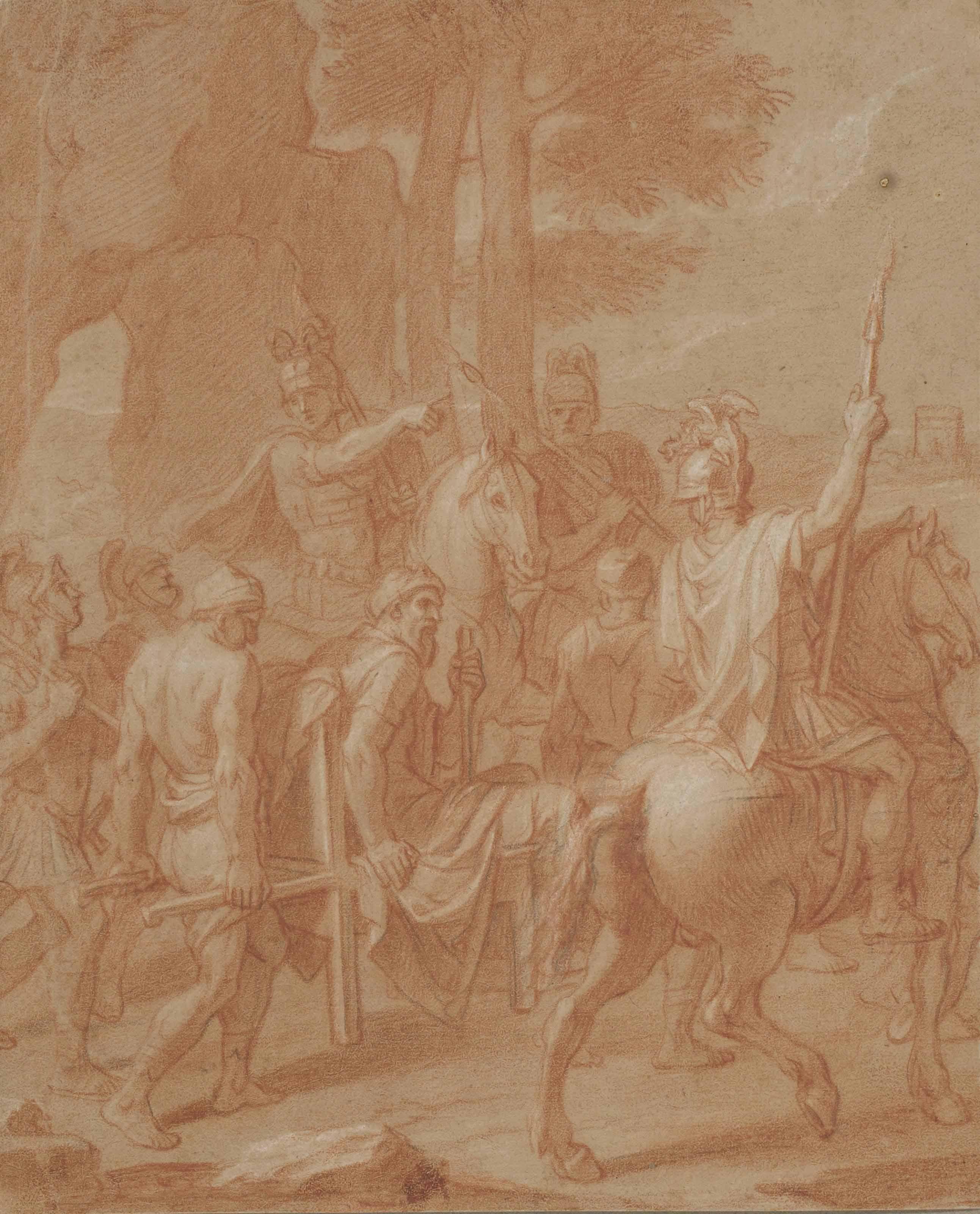 Soldats convoyant un homme; et Déposition de croix