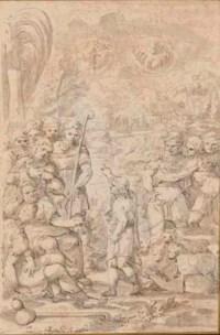 Douze dessins représentant des scènes de l'ancien testament: scènes de l'histoire de Joseph