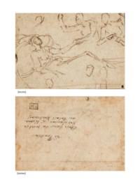 Un homme allongé sur un lit, deux hommes debout derrière, l'un lui tenant la main (recto); et Etude de jambe (verso)