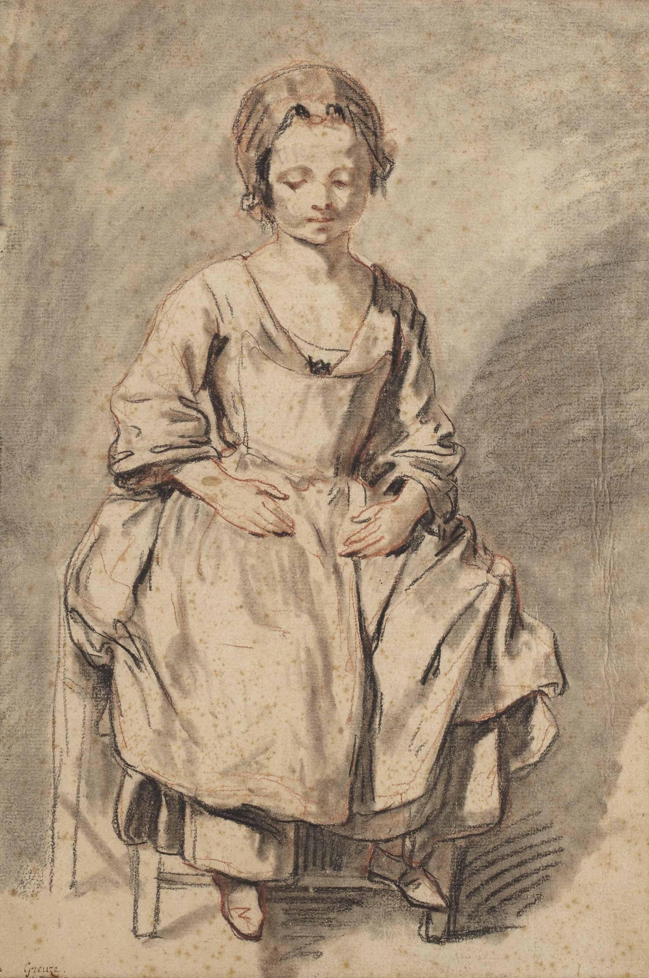 jean baptiste greuze tournus 1725 1805 paris jeune fille assise sur une chaise christie 39 s. Black Bedroom Furniture Sets. Home Design Ideas