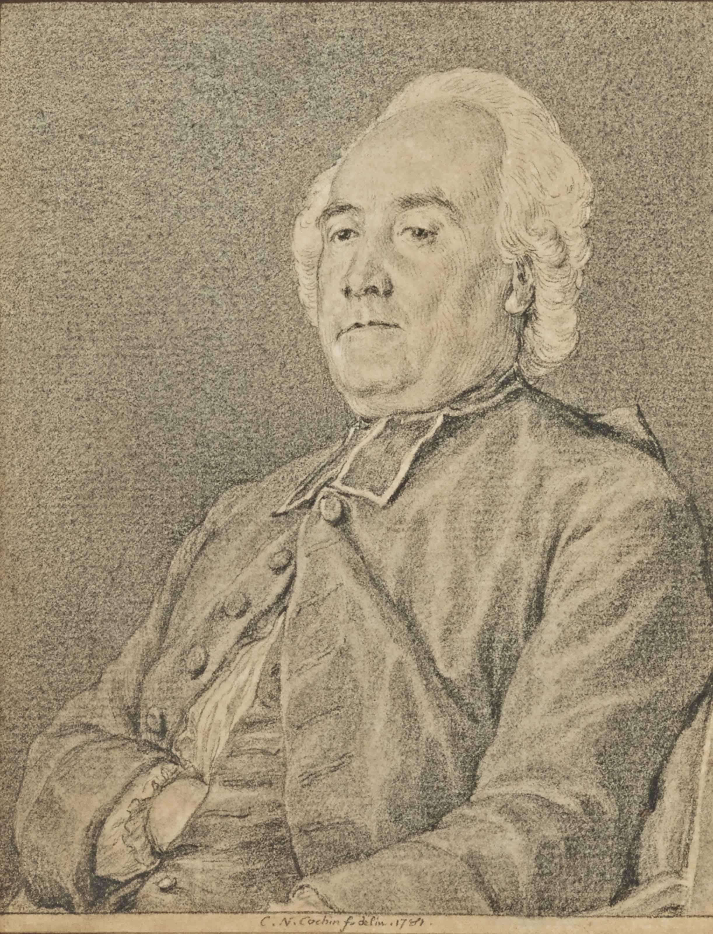 Portrait de l'abbé Marie-François-Nicolas de Bourgogne, assis, vu de trois-quart
