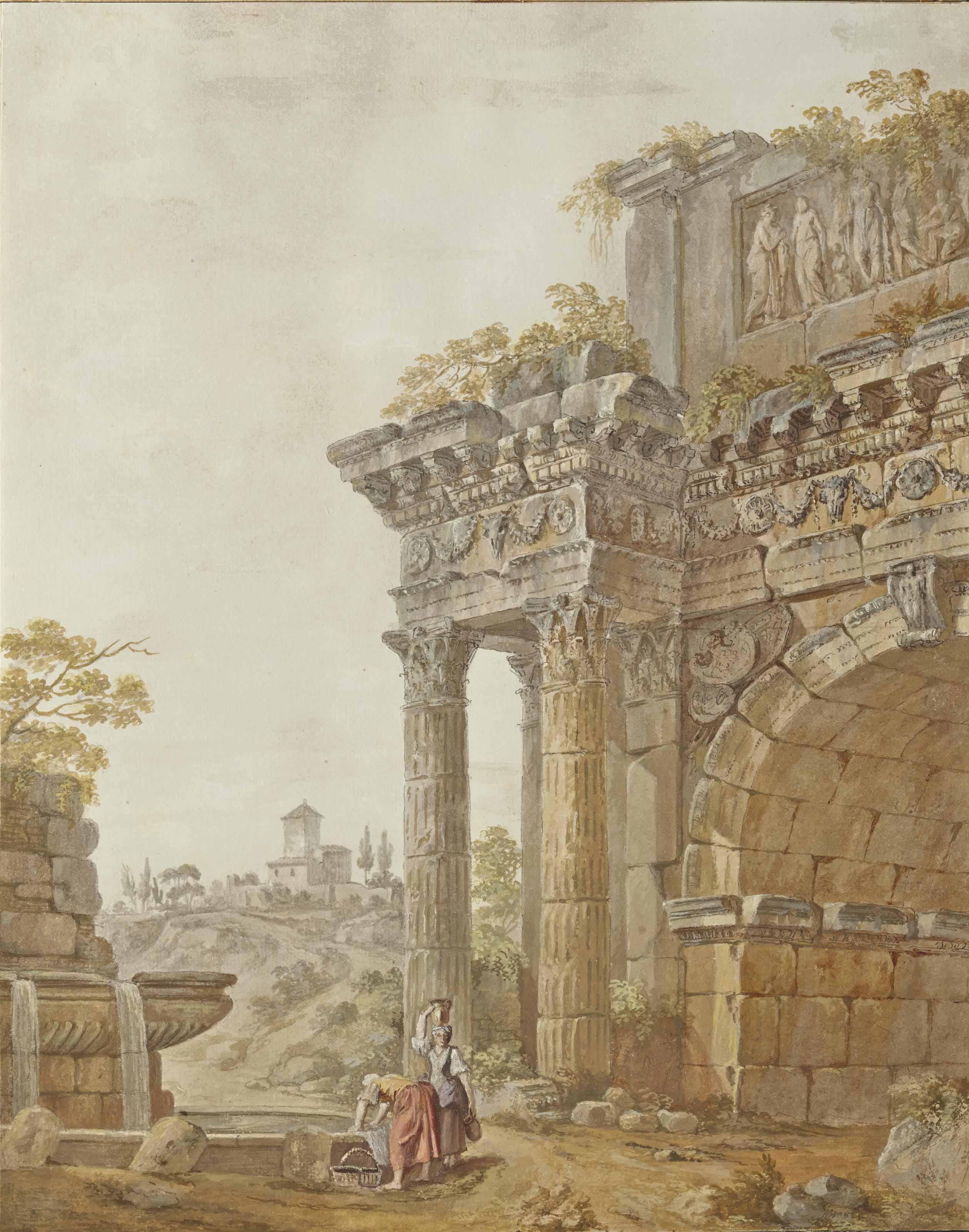 Femmes à la fontaine près d'un arc en ruines