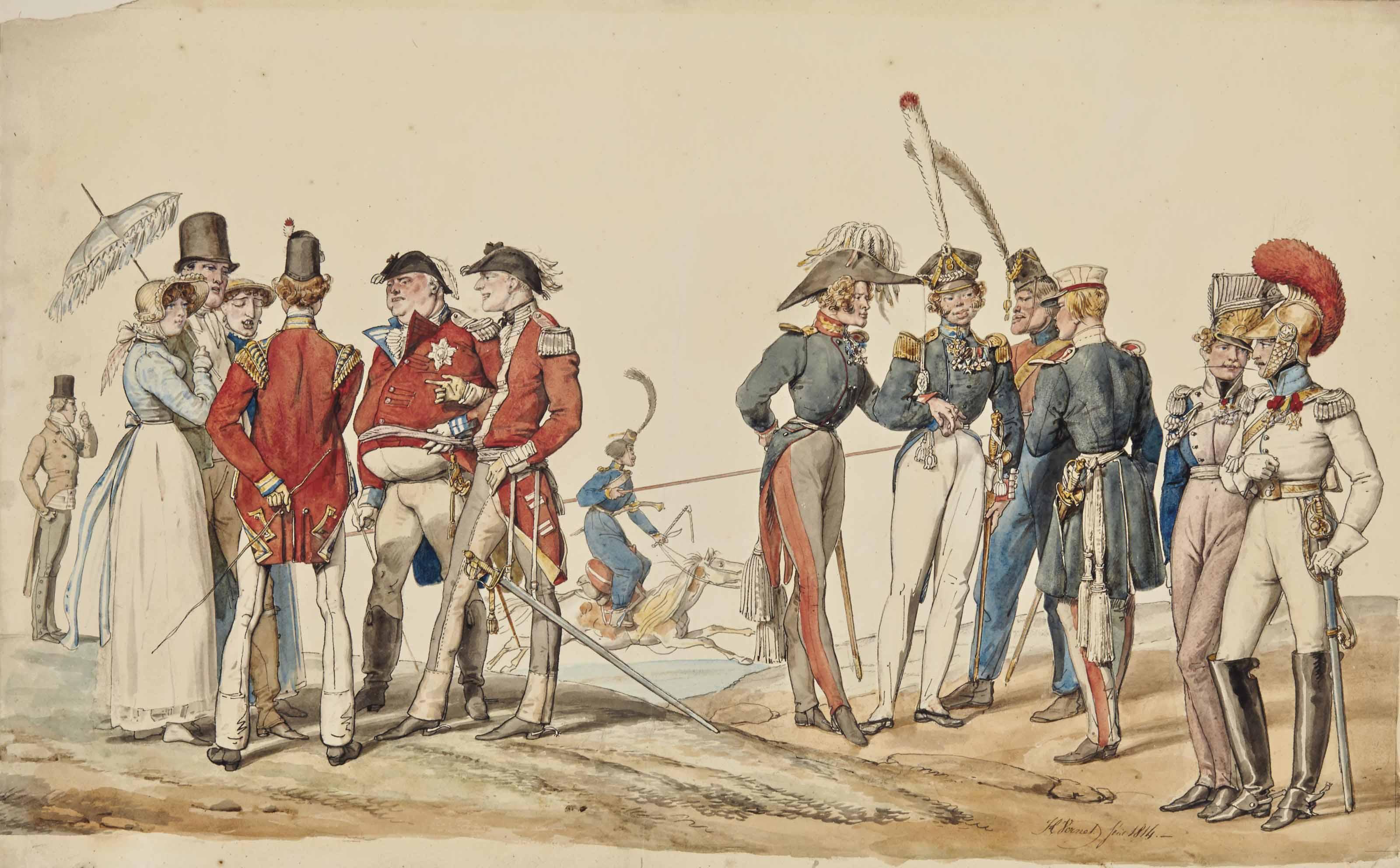 Officiers anglais et français discutant