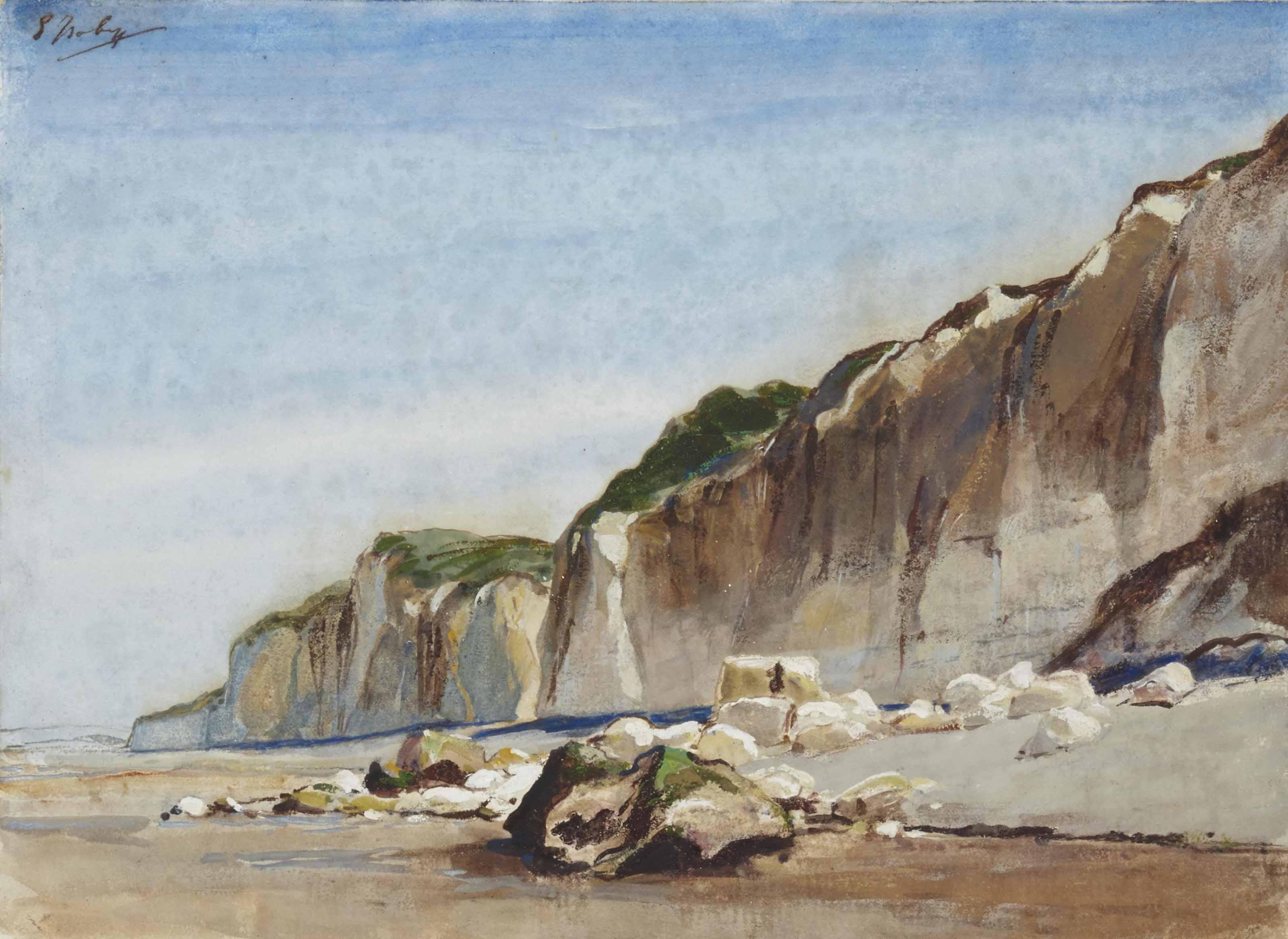 La plage à marée basse, des falaises à l'arrière-plan