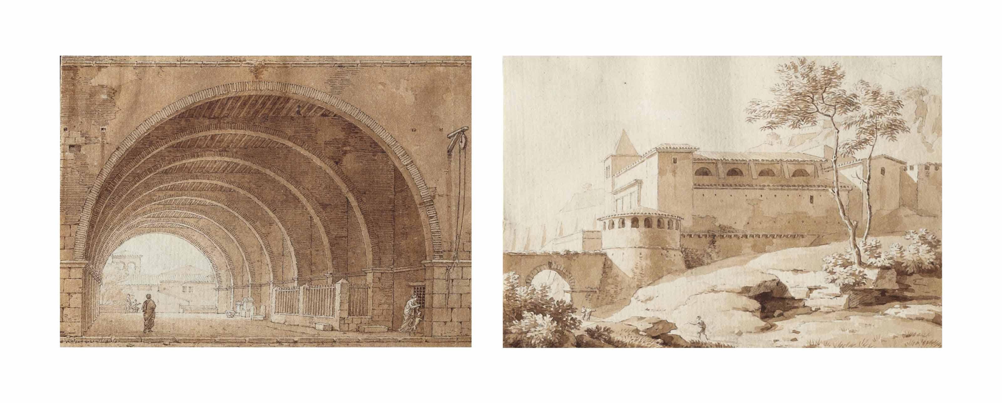 La cour d'un monastère; Palais dans la campagne romaine; et Voûte sous le palais de justice à Anagni