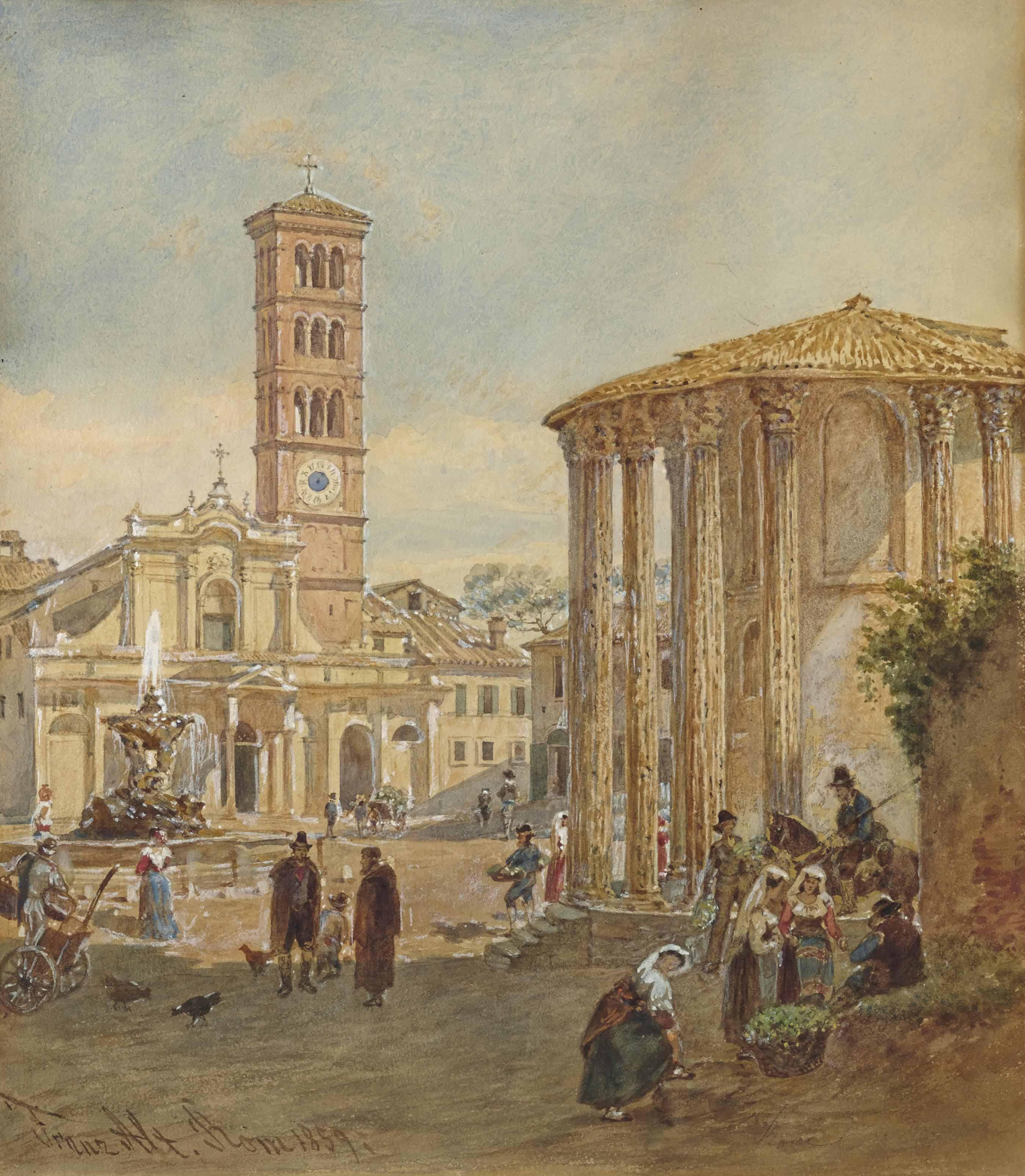 Romains autour du temple de Vesta, l'église Santa Maria di Cosmedin à l'arrière-plan