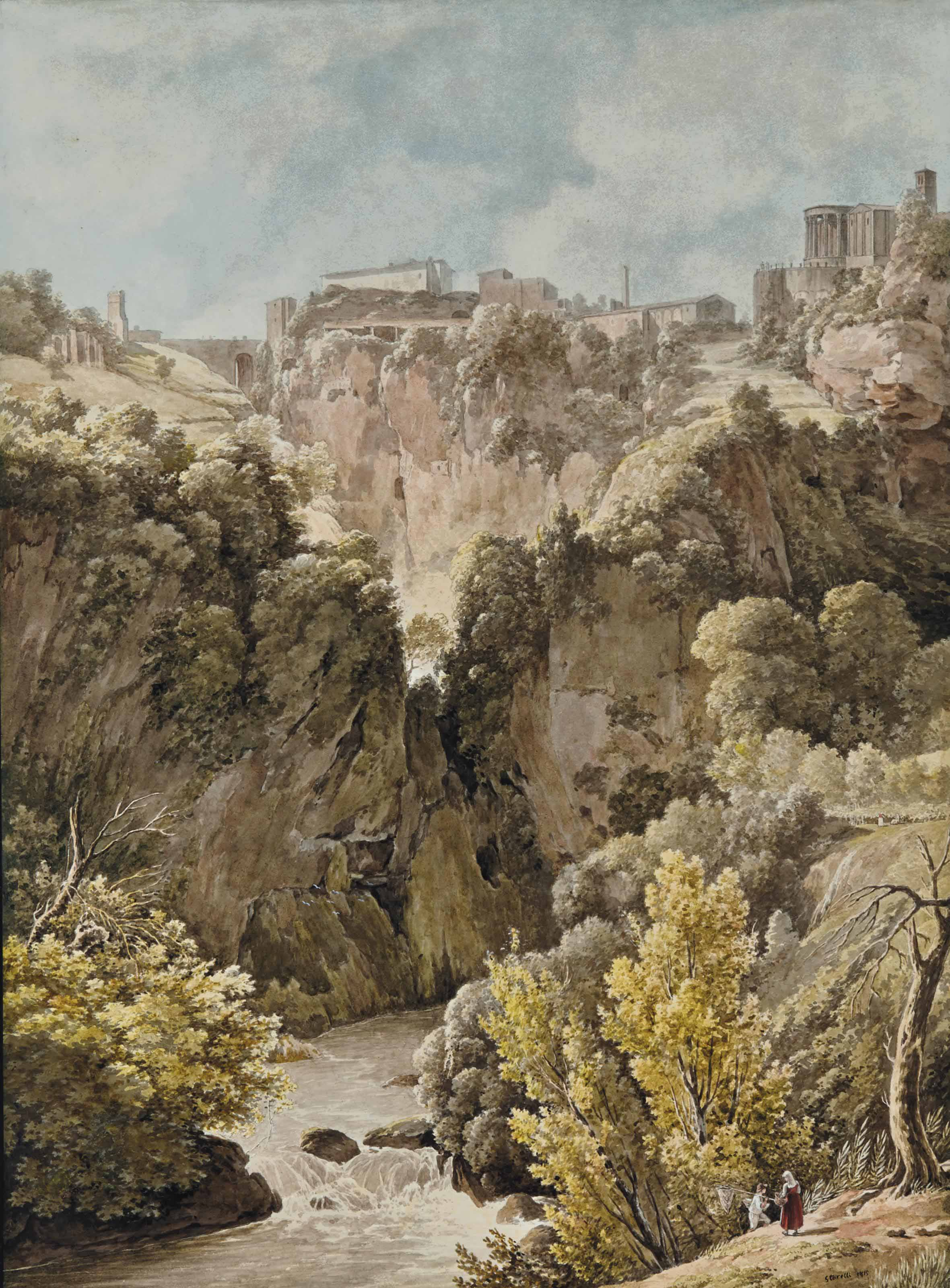 Les chutes de Tivoli avec le temple de Vesta