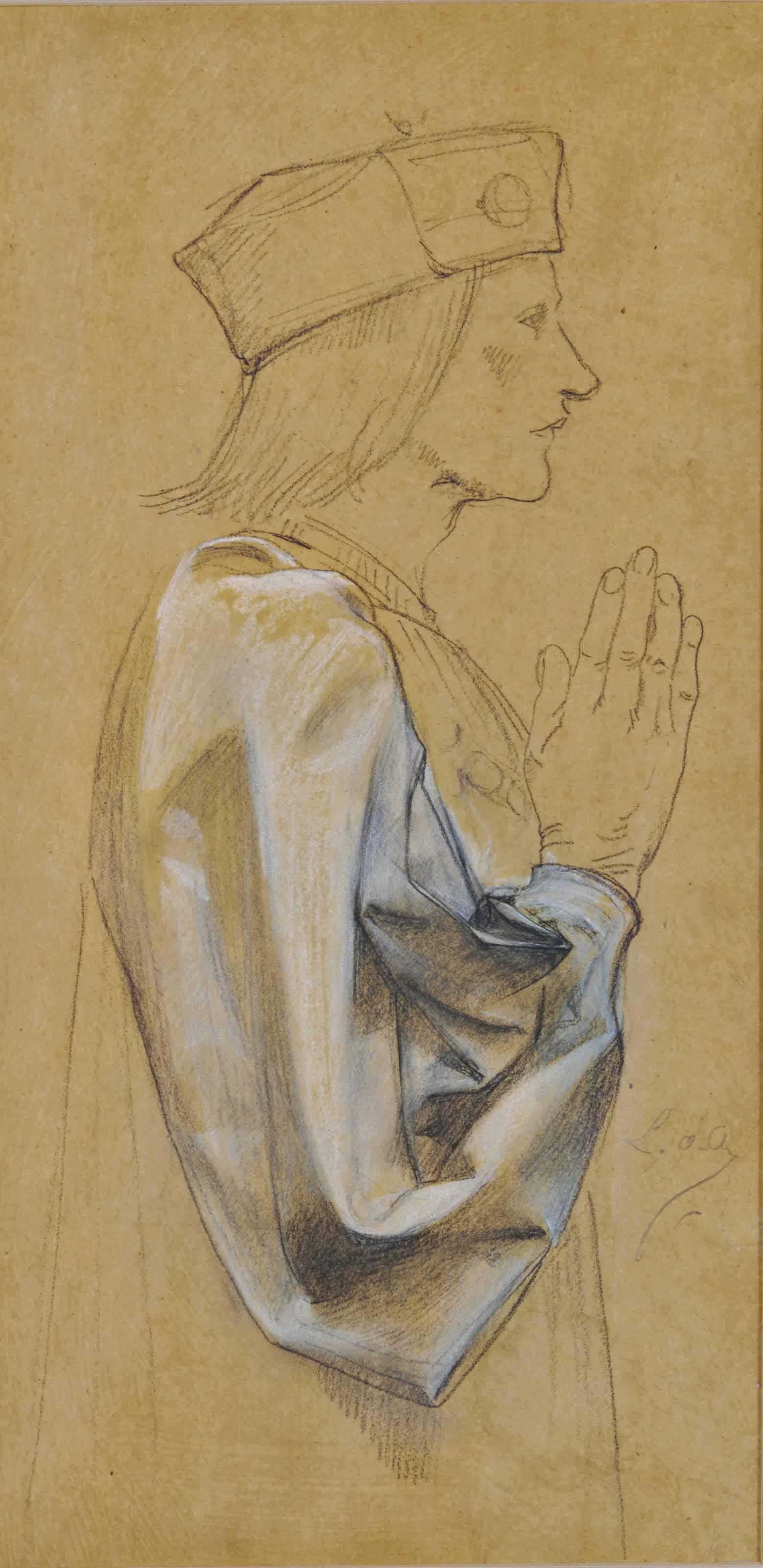 Homme de profil avec un détail de sa manche drapée; et Une scène de Macbeth