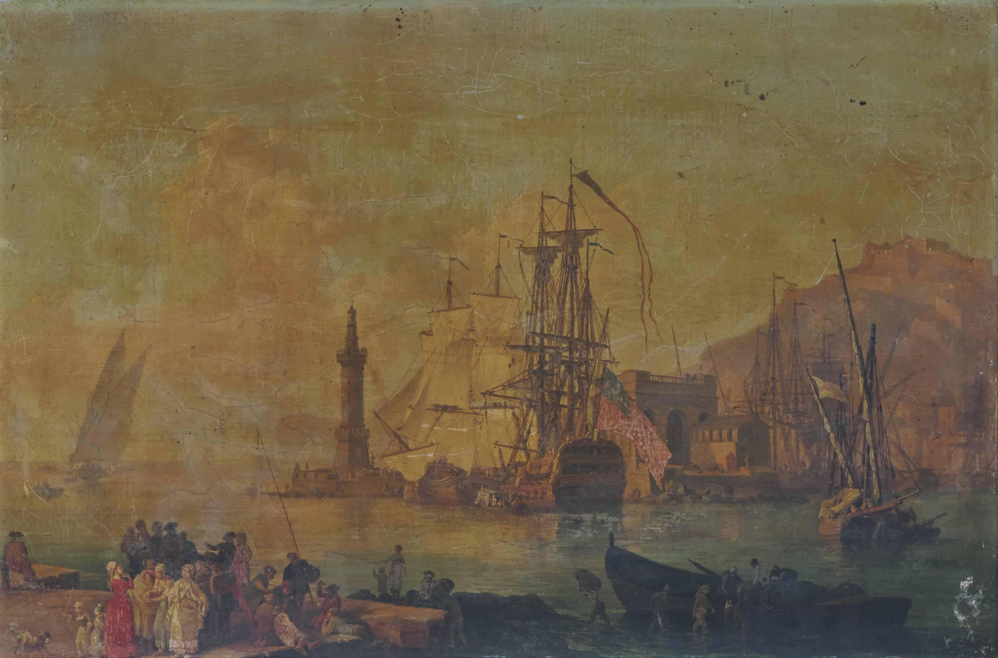 Port méditerranéen avec des marchands et des joueurs de cartes