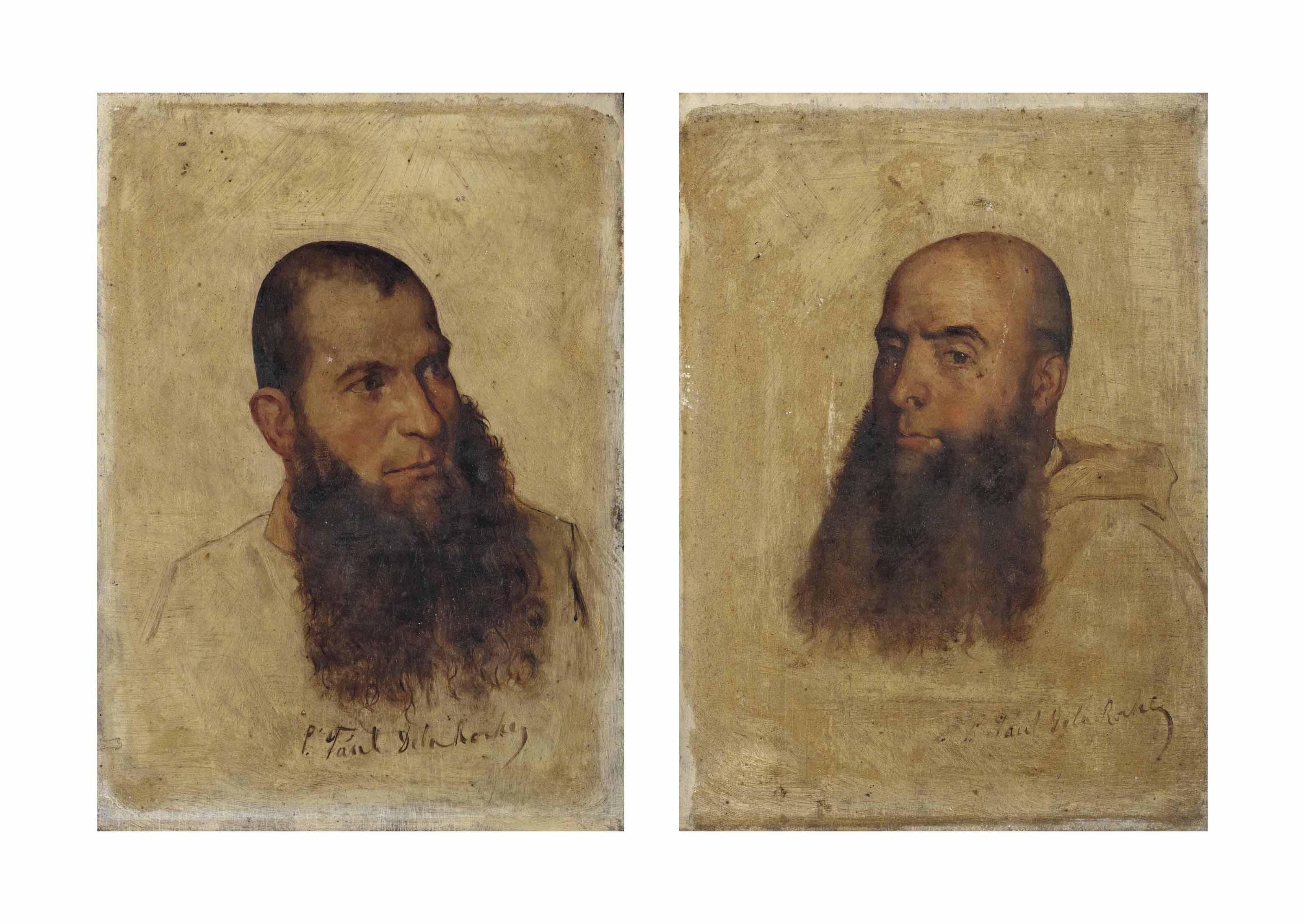Deux études de têtes de moines camaldules