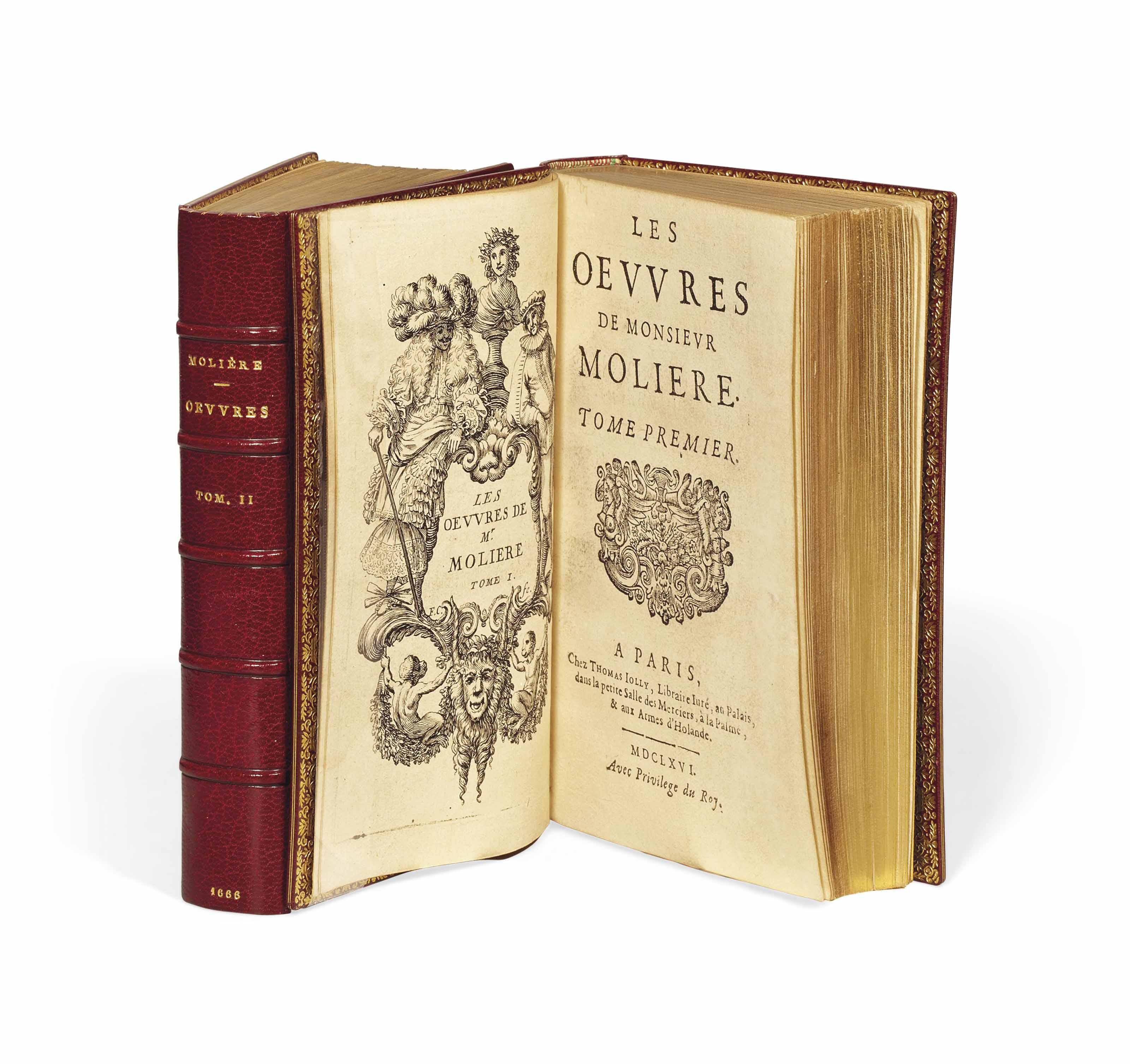 MOLIÈRE (1622-1673). Les Oeuvres. Paris: Thomas Jolly [tome I] et Louis Billaine [tome II], 1666 [achevé d'imprimer au 23 mars].
