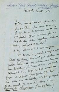 FLAUBERT, Gustave (1821-1880). Lettre autographe signée à Charles- Edmond Chojecki. Croisset, samedi soir [15 novembre 1865].