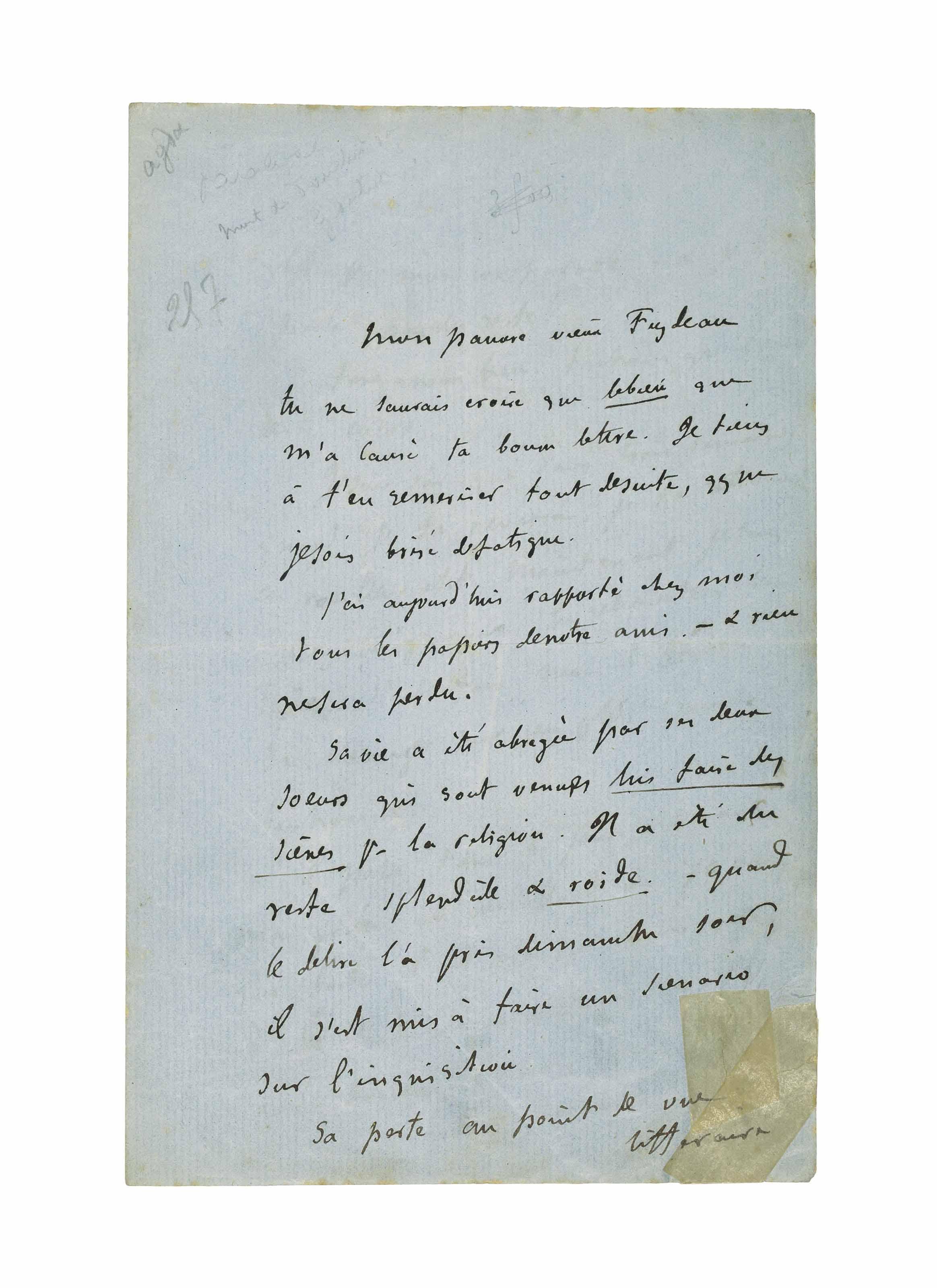 FLAUBERT, Gustave (1821-1880). Lettre autographe signée à Ernest Feydeau. Sans date [21 juillet 1869].