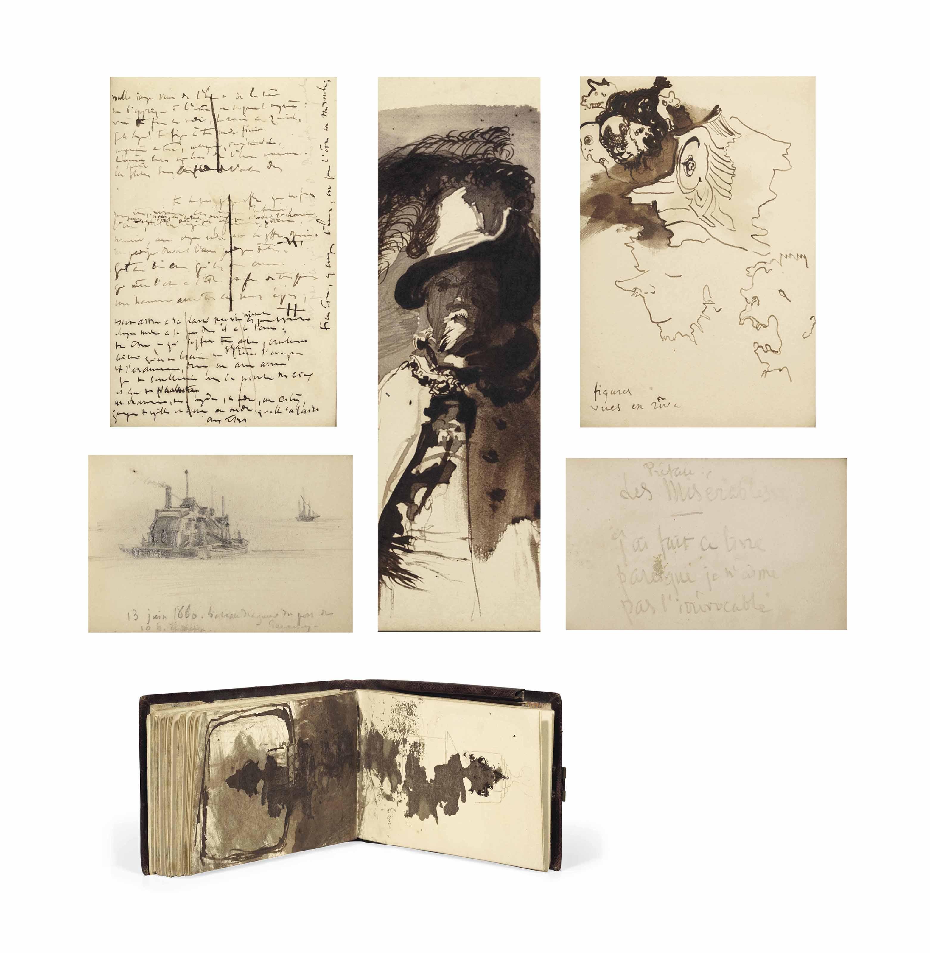 HUGO, Victor (1802-1885). Carnet de notes autographes, dessins et croquis originaux. 64 feuillets non lignés (en comptant les gardes), dont un seul laissé vierge. Encre et crayon. Entre 1856 et au moins 1860.