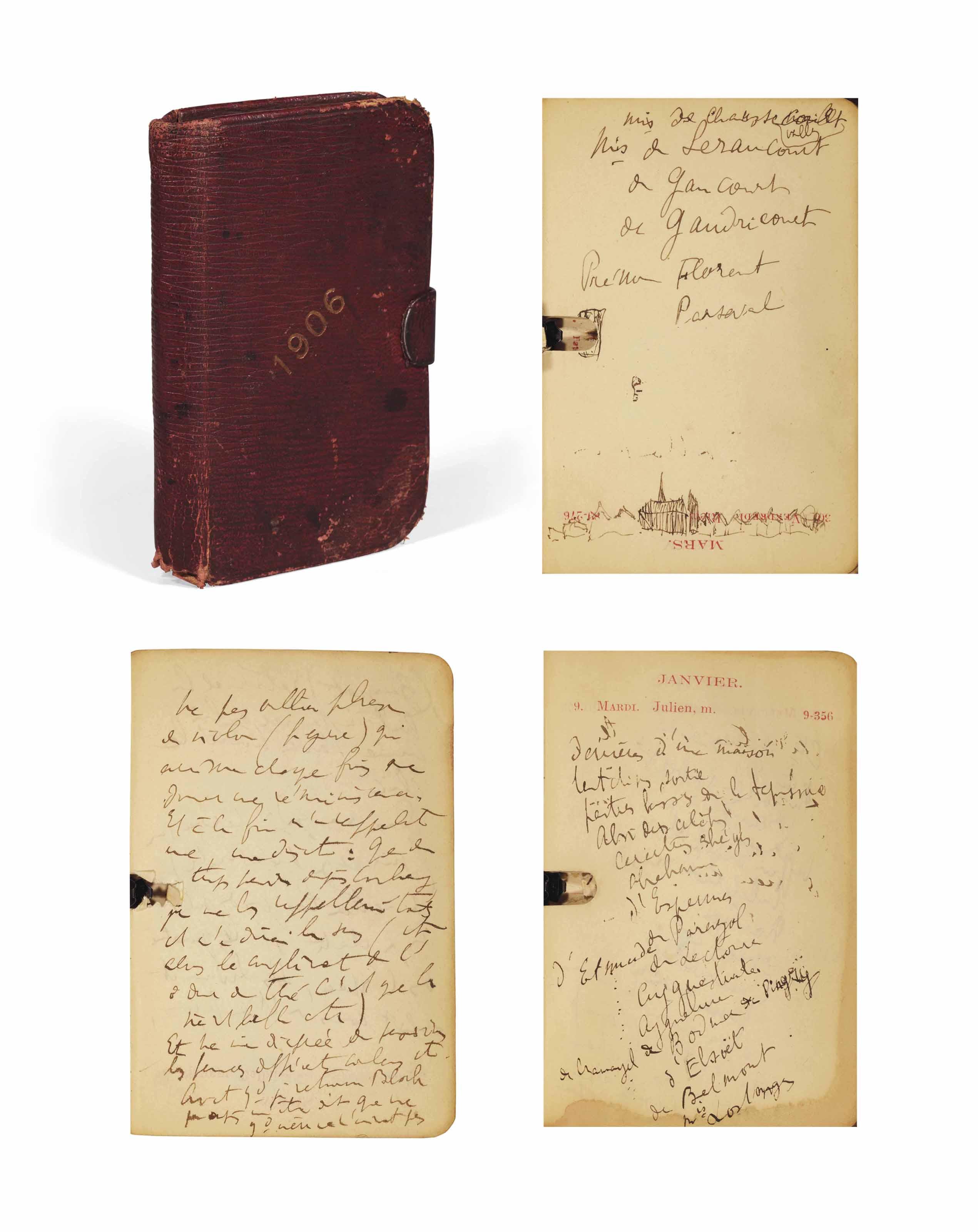 PROUST, Marcel (1871-1922). Agenda janvier-mars 1906. Kirby, Beard & Co. [Entre 1908 et 1911].