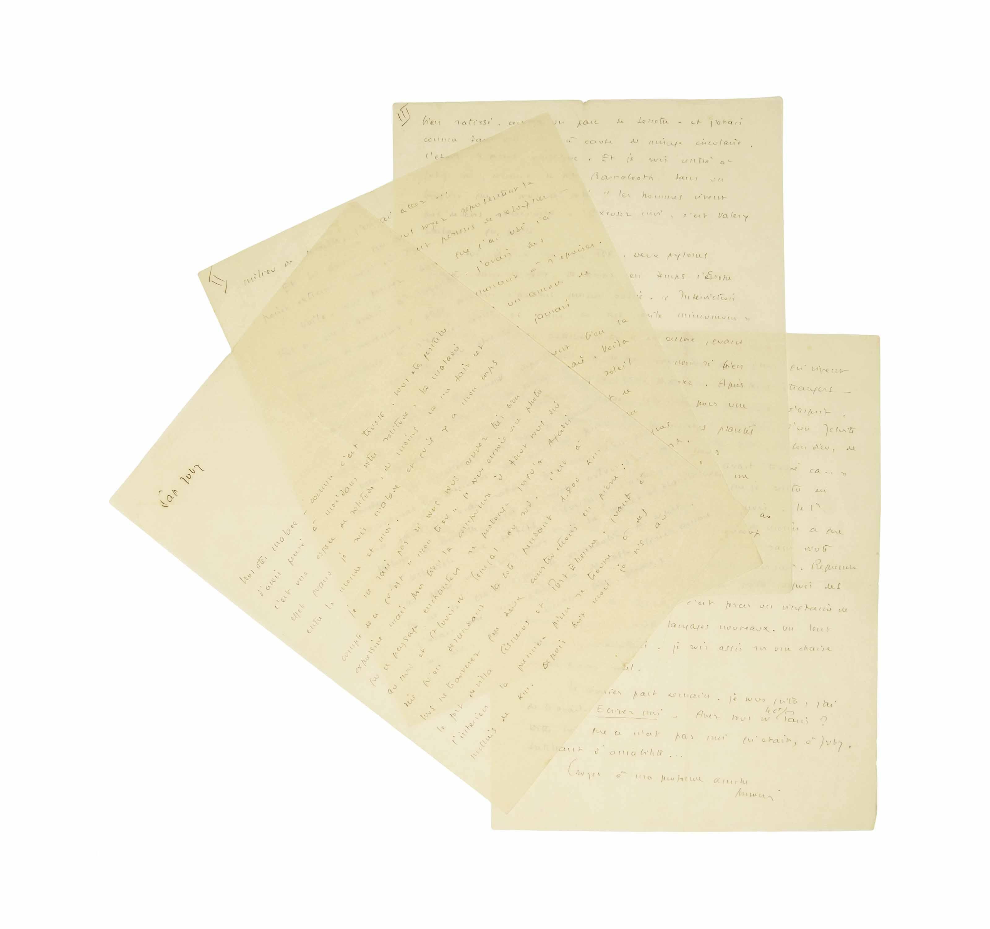 """SAINT-EXUPÉRY, Antoine de (1900-1944). Lettre autographe signée """"Antoine"""" à Lucie-Marie Decour. 4 pages sur 4 feuillets in-4 (266 x 205 mm) numérotés [I]-IV. Située à Cap Juby, s.d. [probablement juin 1928]. Encre sur papier pelure. (Traces de pliures.)"""
