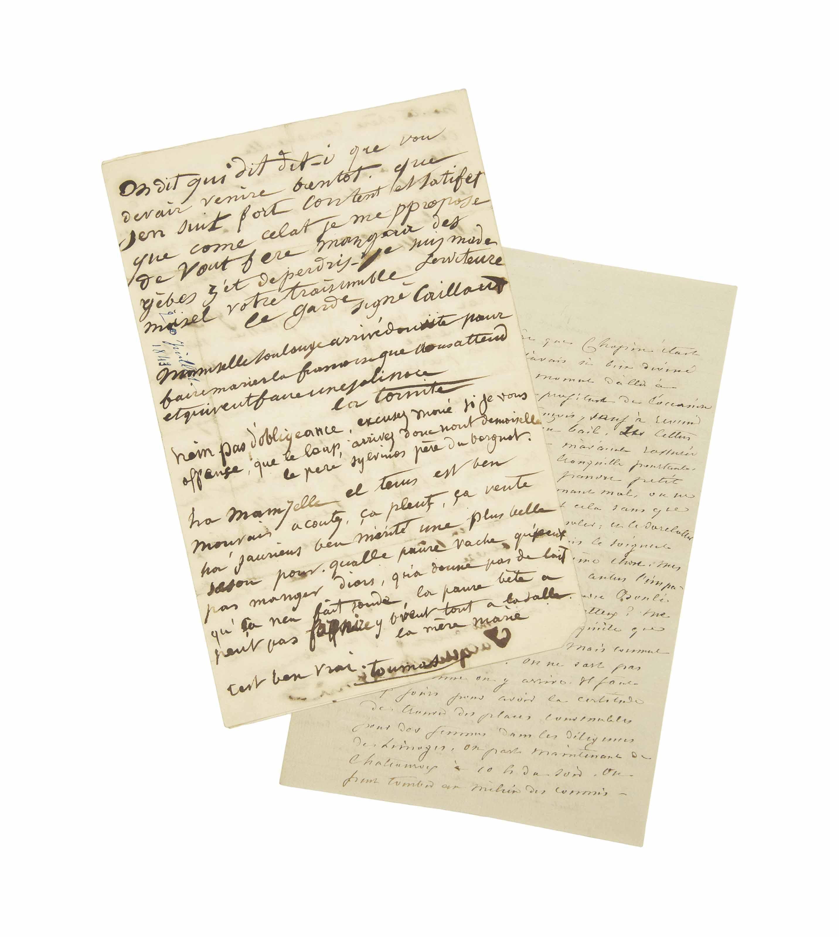 SAND, George (1804-1876). Lettre autographe, non signée, à son fils Maurice. [Novembre 1843].