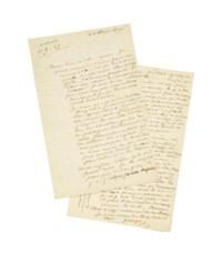 """SAND, George (1804-1876). Lettre autographe, signée """"George"""", à Étienne Arago. """"Nohant 11.9.49""""."""