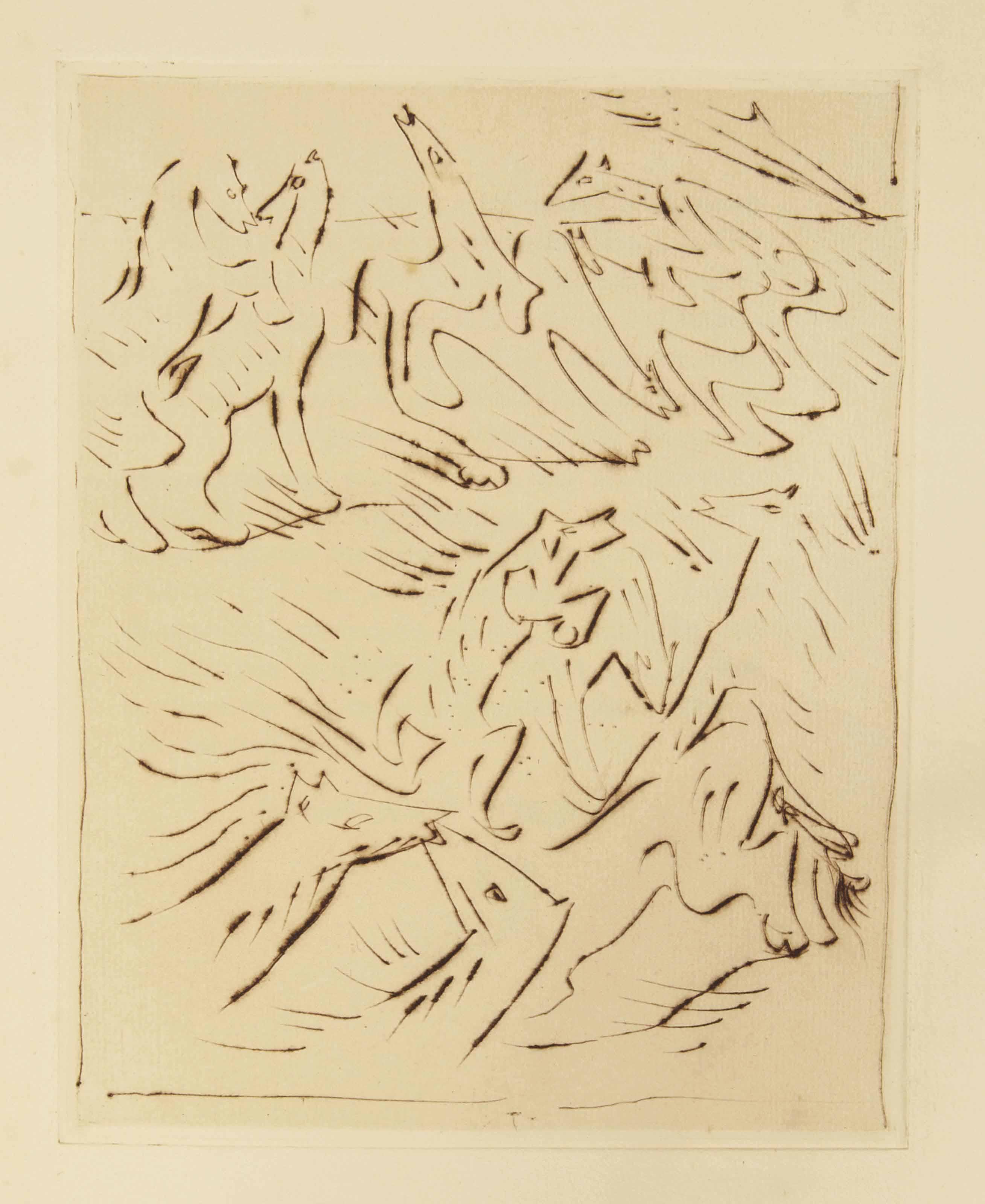 [CURIOSA] -- [MASSON] -- BATAILLE, Georges (1897-1962). L'Anus solaire. Illustré de pointes sèches par André Masson. Paris: éditions de la galerie Simon [Henry Kahnweiler], 1931.