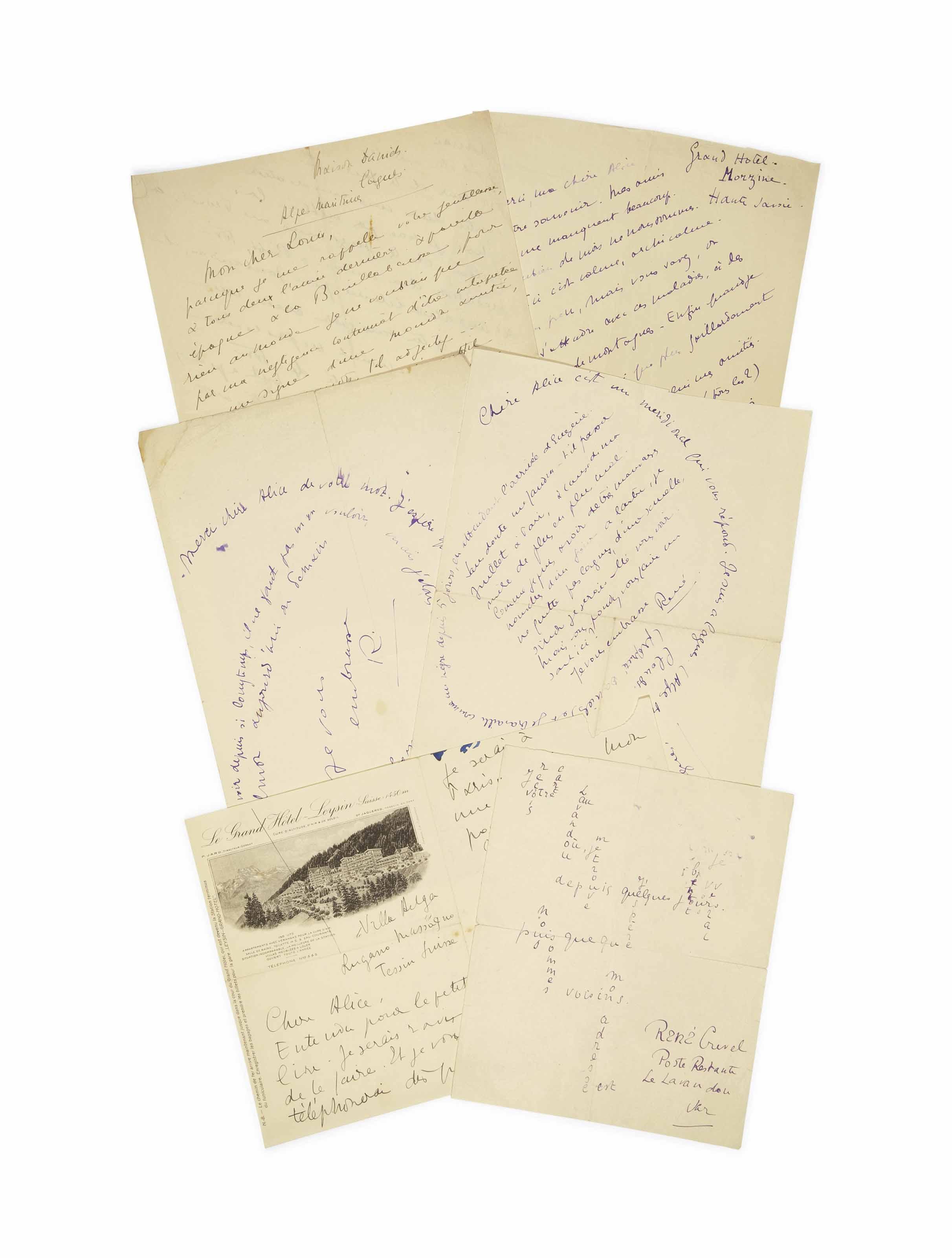"""CREVEL, René (1900-1935). Réunion de 24 lettres autographes signées, 18 adressées à Alice Halicka, 5 à Louis Marcoussis et une à M. & Mme Marcoussis. Non datées, vers 1925-1926. Les lettres, d'une à quatre pages et de divers formats, sont tour à tour signées """"René Crevel"""", """"René"""" ou """"R"""". Deux sont écrites sous forme de calligramme. (Détail des lettres sur demande.)"""