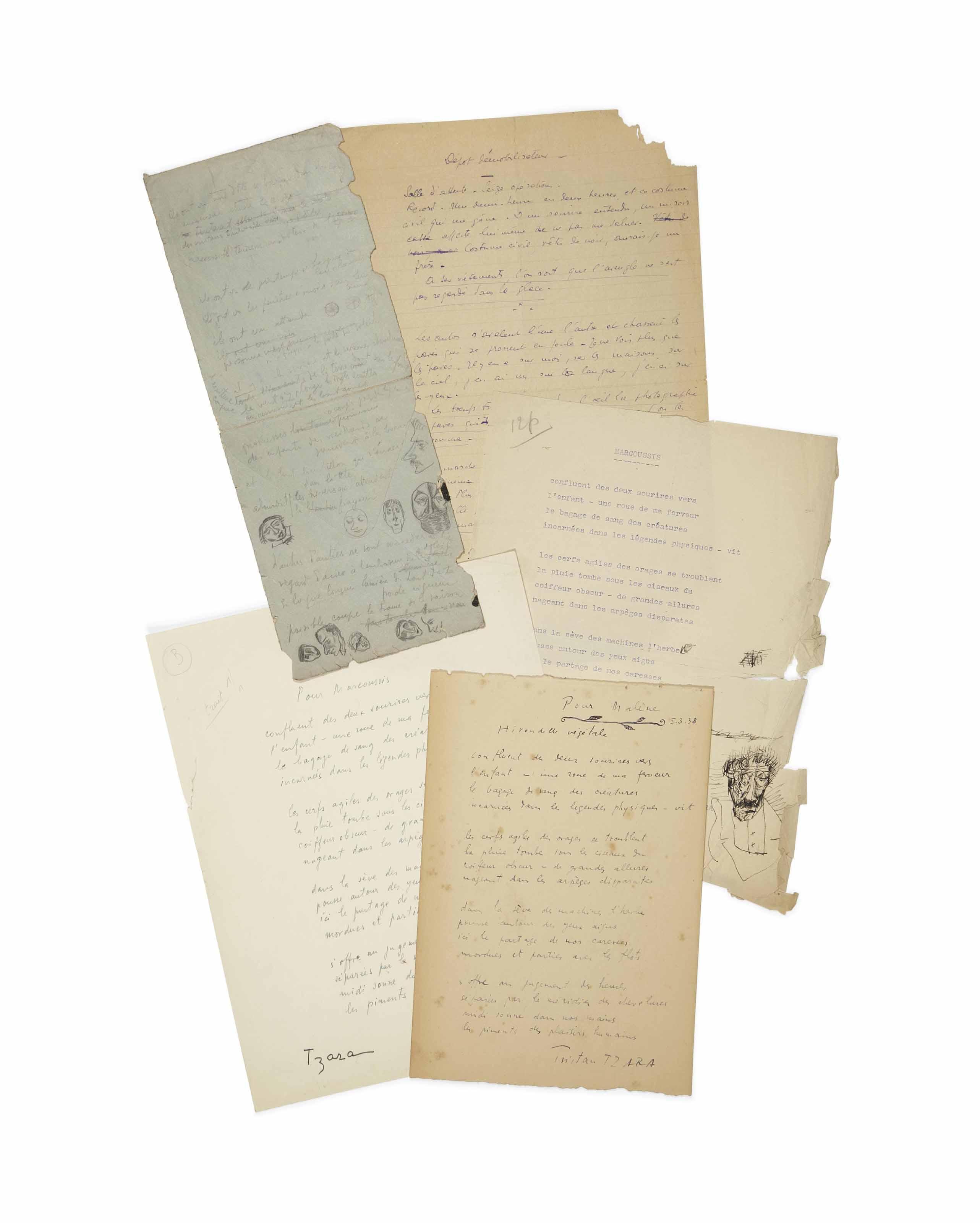 TZARA, Tristan (1896-1963). Réunion de 15 manuscrits autographes, plupart non signés (crayon et encre sur papiers de diverses qualités) et dactylographies de poèmes, dont plusieurs ont été publiés dans L'Arbre des voyageurs (voir lot 222).