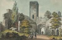 Personnages devant des ruines fortifiées