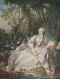 Femme lisant dans un paysage
