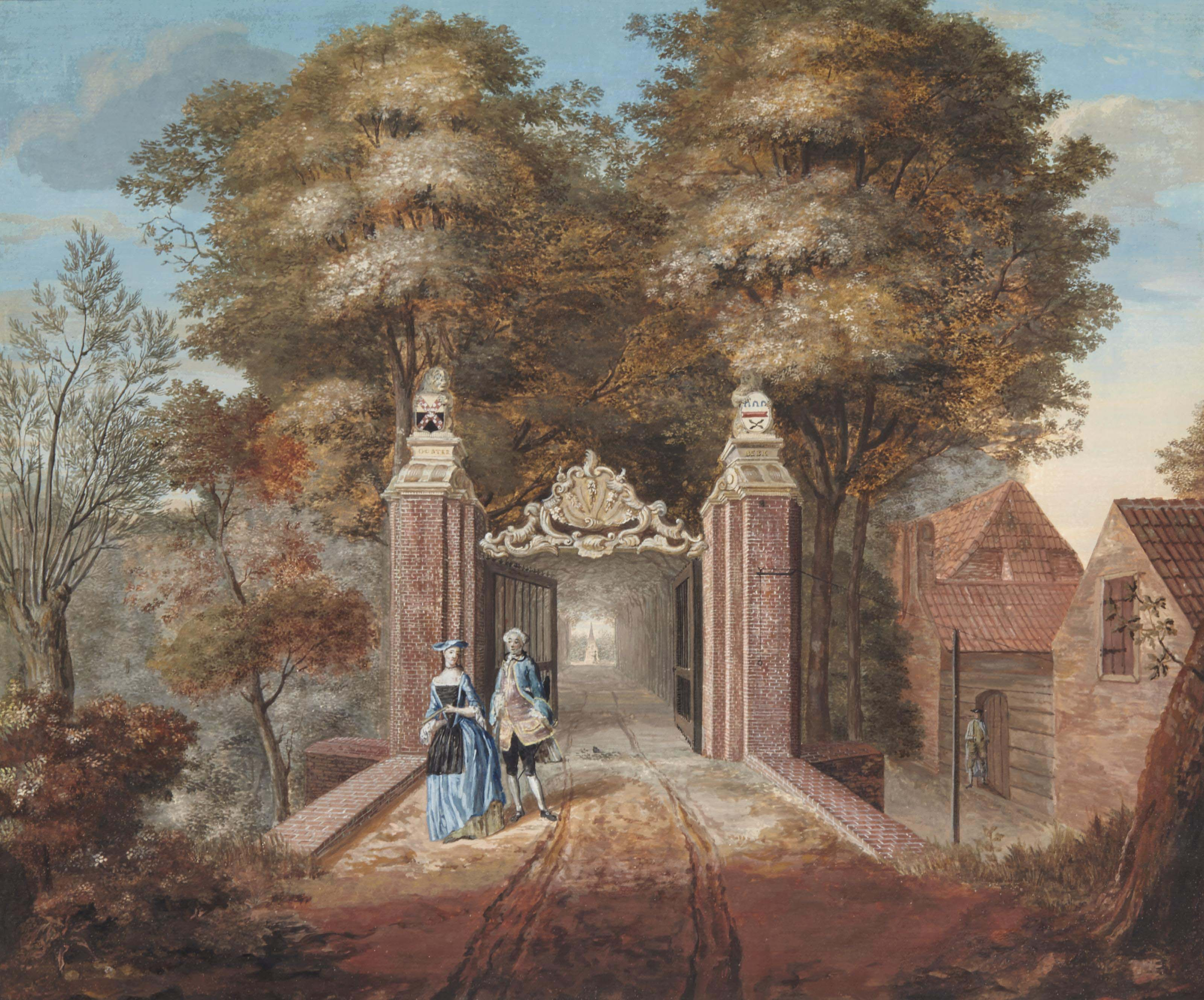 Le portail d'entrée d'une grande demeure à Oosterbeek près de La Haye; et Calèche et personnages dans un village
