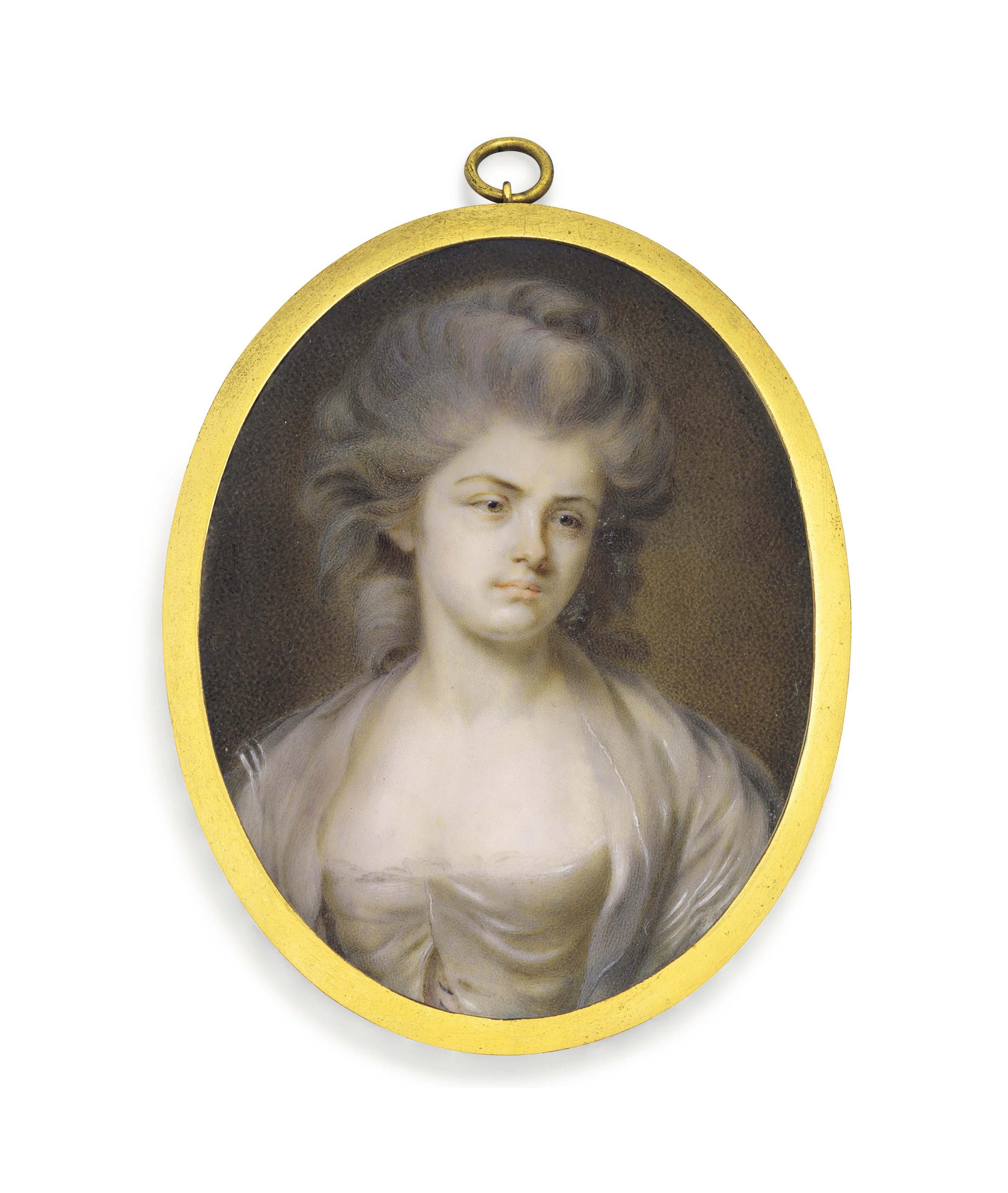 Portrait de femme en buste portant une robe blanche, traditionnellement identifiée comme madame Franklin