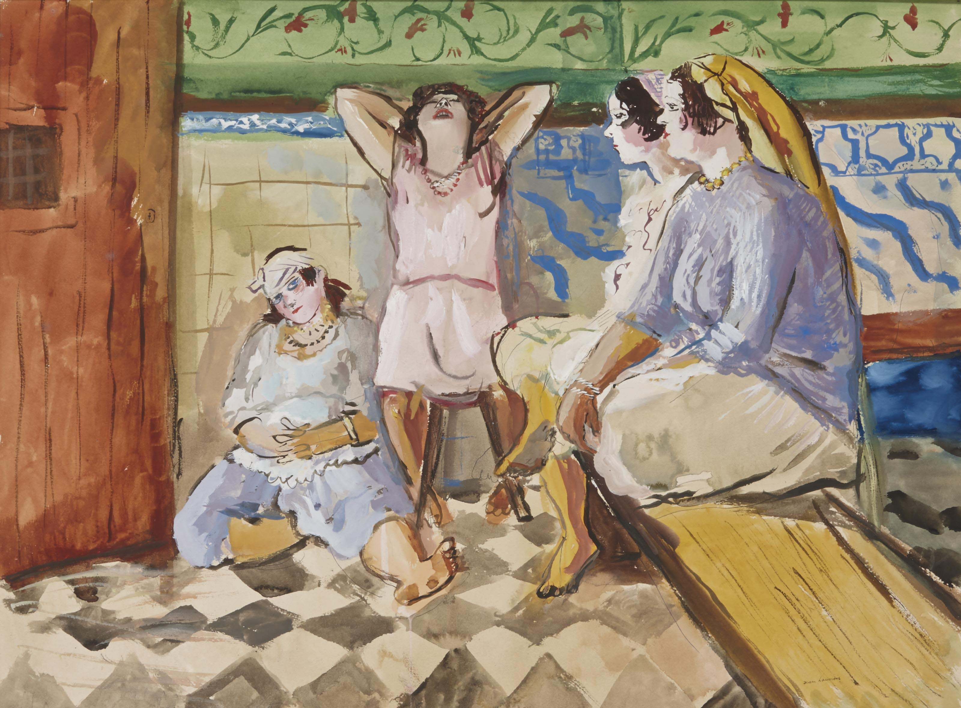 Enfants jouant dans une rue; et Quatre femmes assises