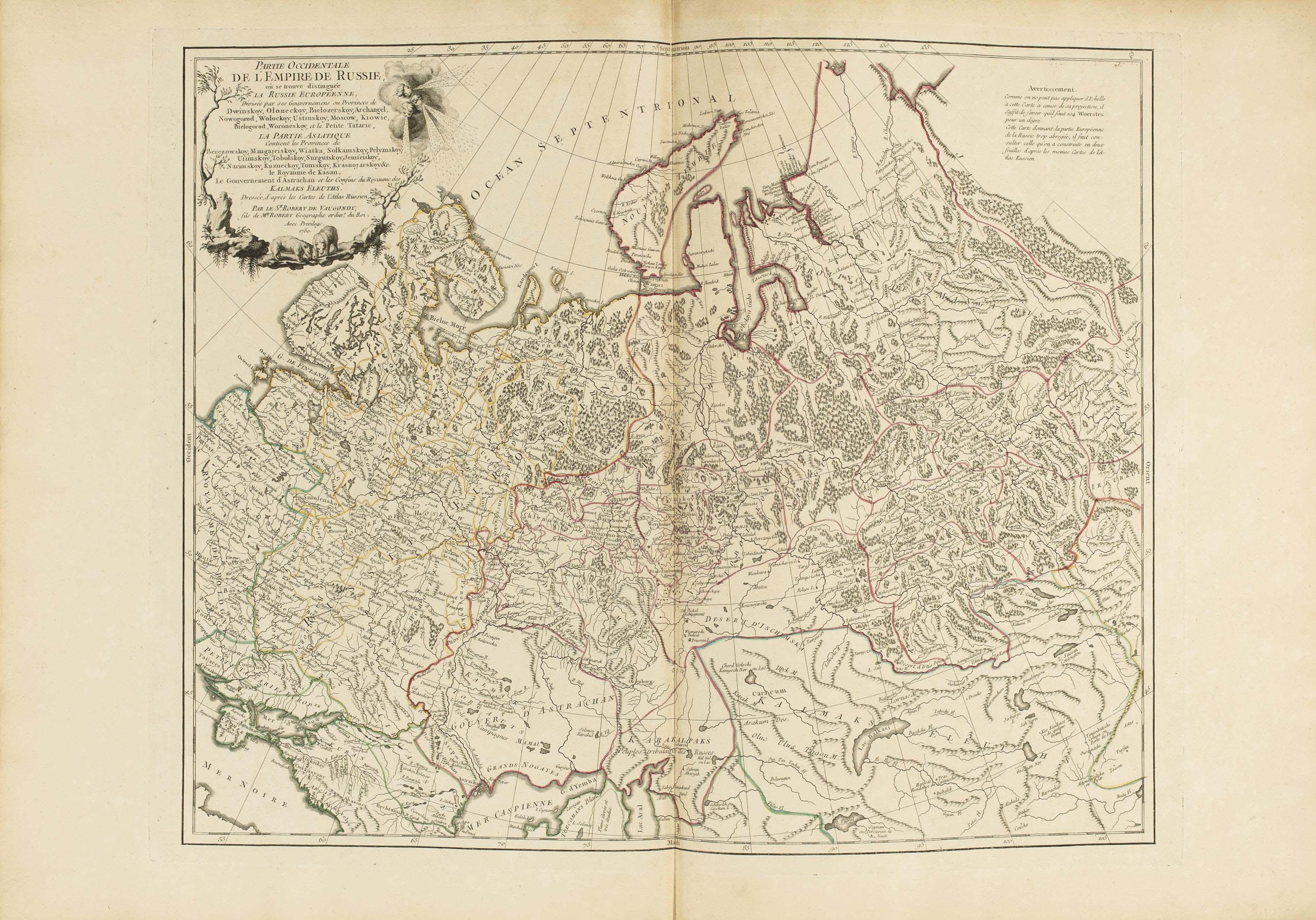 ROBERT DE VAUGONDY, Gilles (1688-1766) & Didier (1723-1786). Atlas Universel. Paris: pour les auteurs et chez Boudet, 1757 [-1758].