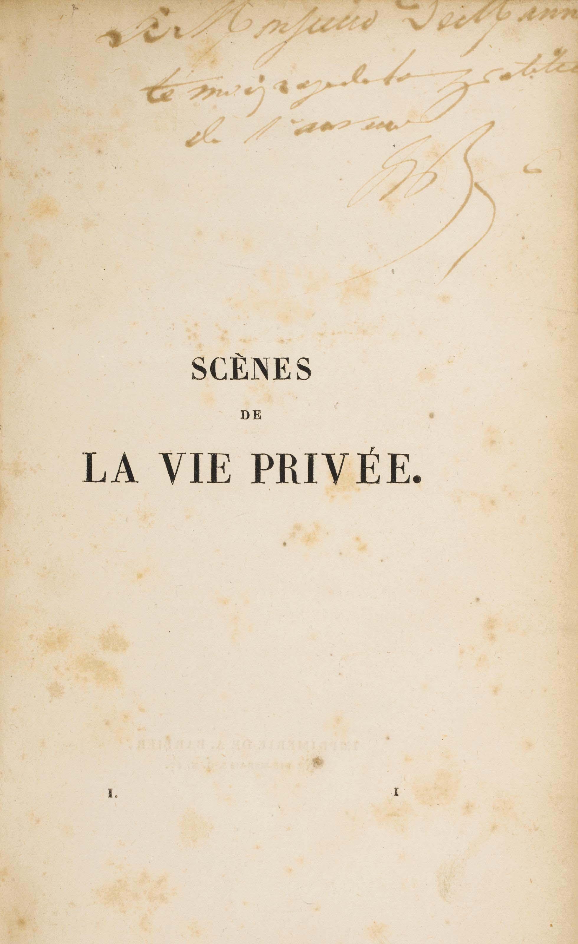 BALZAC, Honoré de (1799-1850). Scènes de la vie privée. Paris: A. Barbier pour Mame et Delaunay, Lavavasseur, 1830.