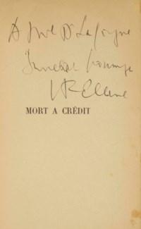 CÉLINE, Louis-Ferdinand Destouches, dit (1894-1961). Mort à Crédit. Paris: Denoël et Steel, 1936.