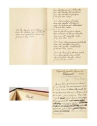 ÉLUARD, Paul (1895-1952). Livre ouvert III. 1942. In-8 (187 x 130 mm). Manuscrit autographe, 59 feuillets principalement aux rectos. Encre noire et bleue sur papier vélin. Ratures et corrections. Reliure signée Beauvais, demi-maroquin ébène à coins, plats de daim rouge (très infimes usures).