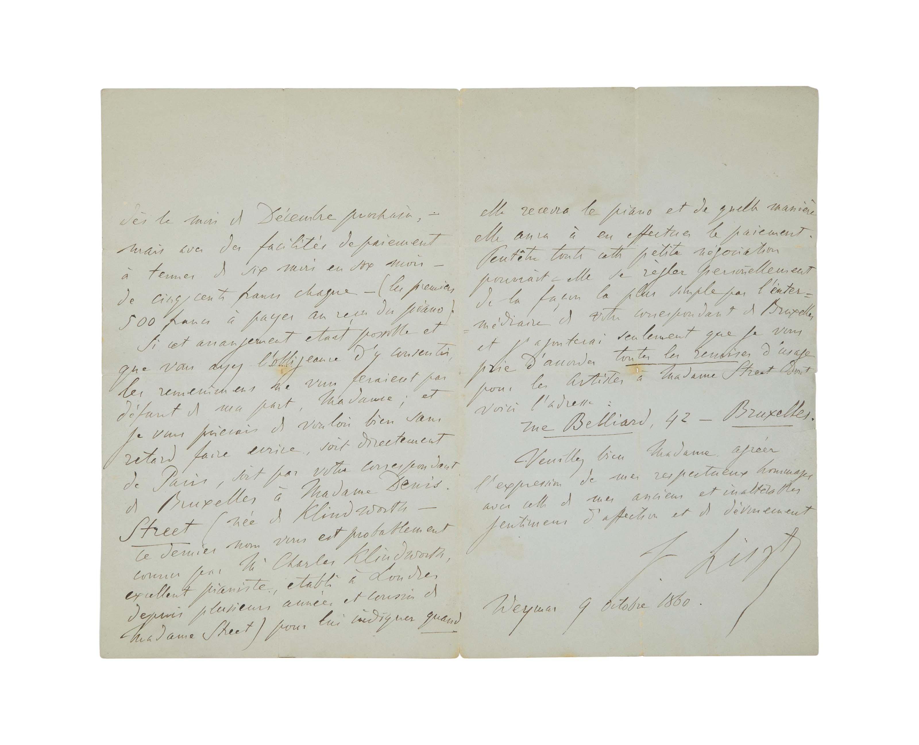 LISZT, Franz (1811-1886). Lett
