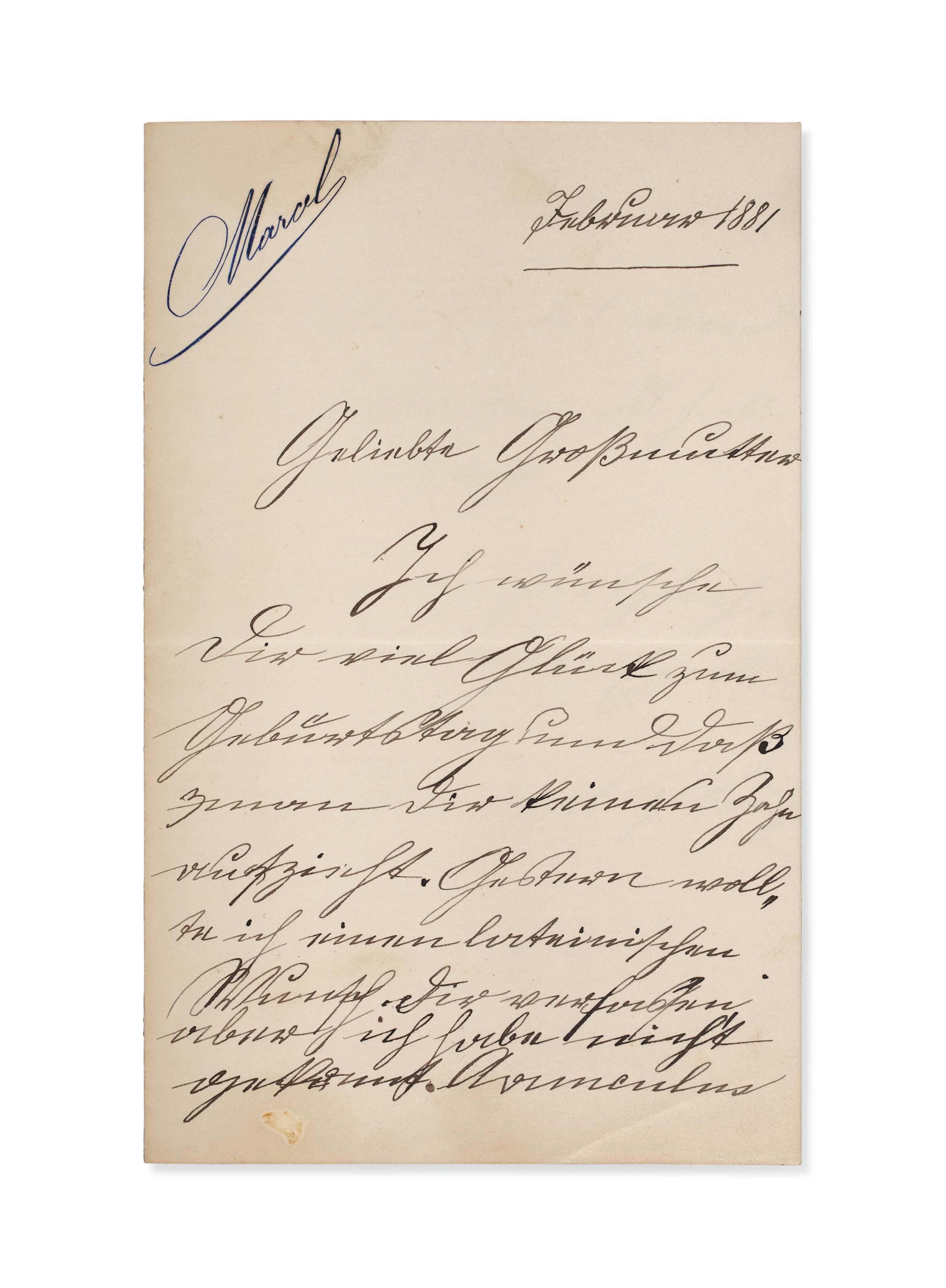 """PROUST, Marcel (1871-1922). Lettre autographe en allemand gothique signée """"Marcel Proust"""" à Mme Nathé Weil, sa grand-mère maternelle, datée """"[5] Februar 1881"""". 2 pages in-12 (156 x 99 mm) sur papier à lettres gravé à son prénom."""