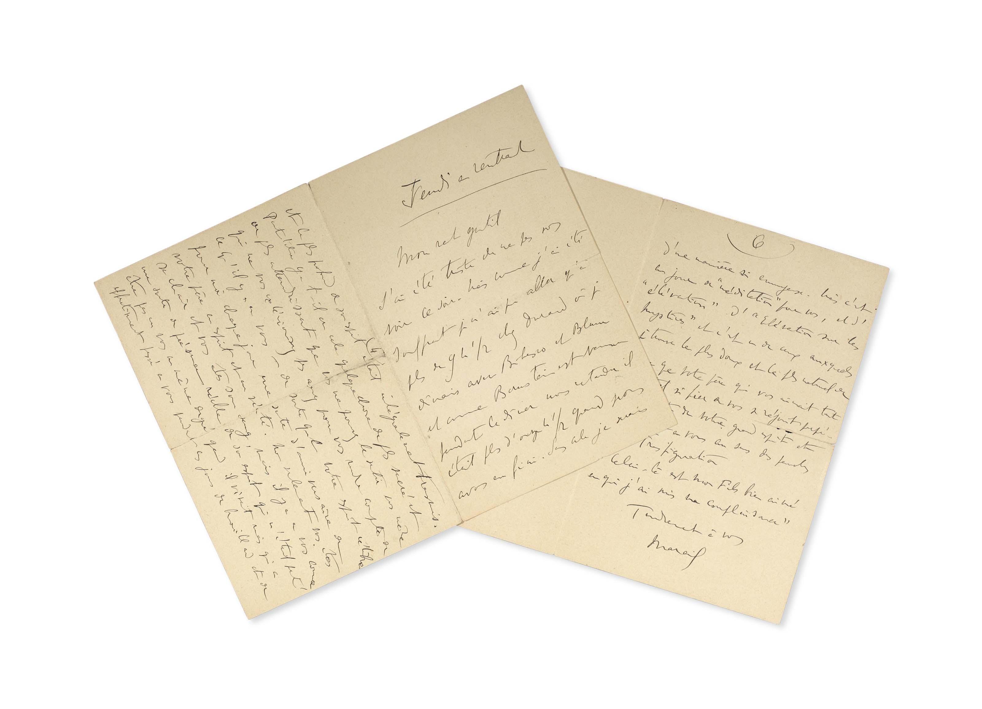 """PROUST, Marcel (1871-1922). Lettre autographe signée """"Marcel"""" à """"mon rat gentil"""" [Lucien Daudet], datée """"jeudi en rentrant"""" [probablement fin 1897 ou début 1898]. 6 pages in-12 (170 x 112 mm) sur deux feuillets repliés. (Infime déchirure à la pliure)."""