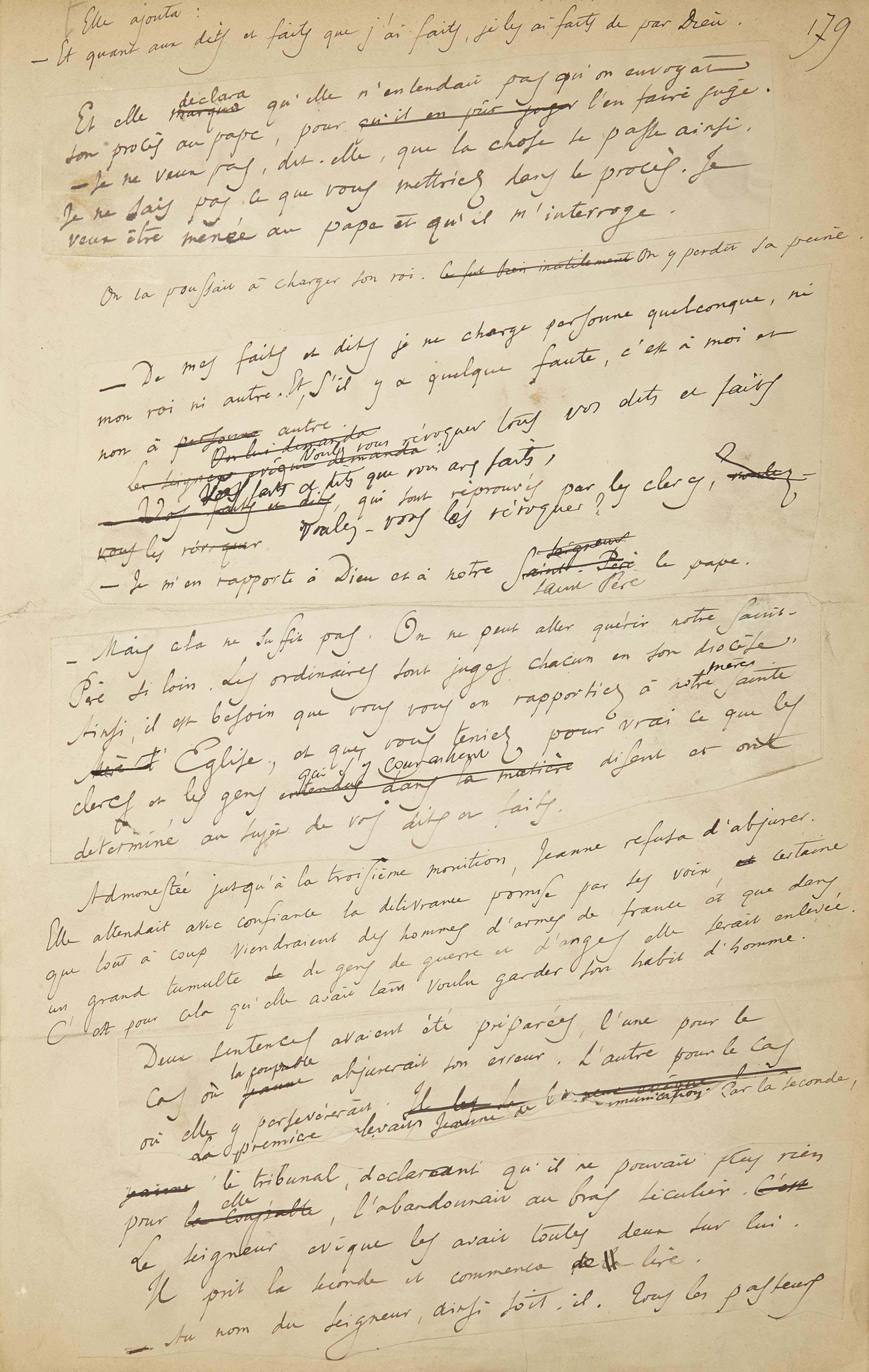 FRANCE, Anatole (1844-1924). [Vie de Jeanne d'Arc.] Réunion de deux manuscrits autographes, un seul signé. Provenance: collection René Gimpel.