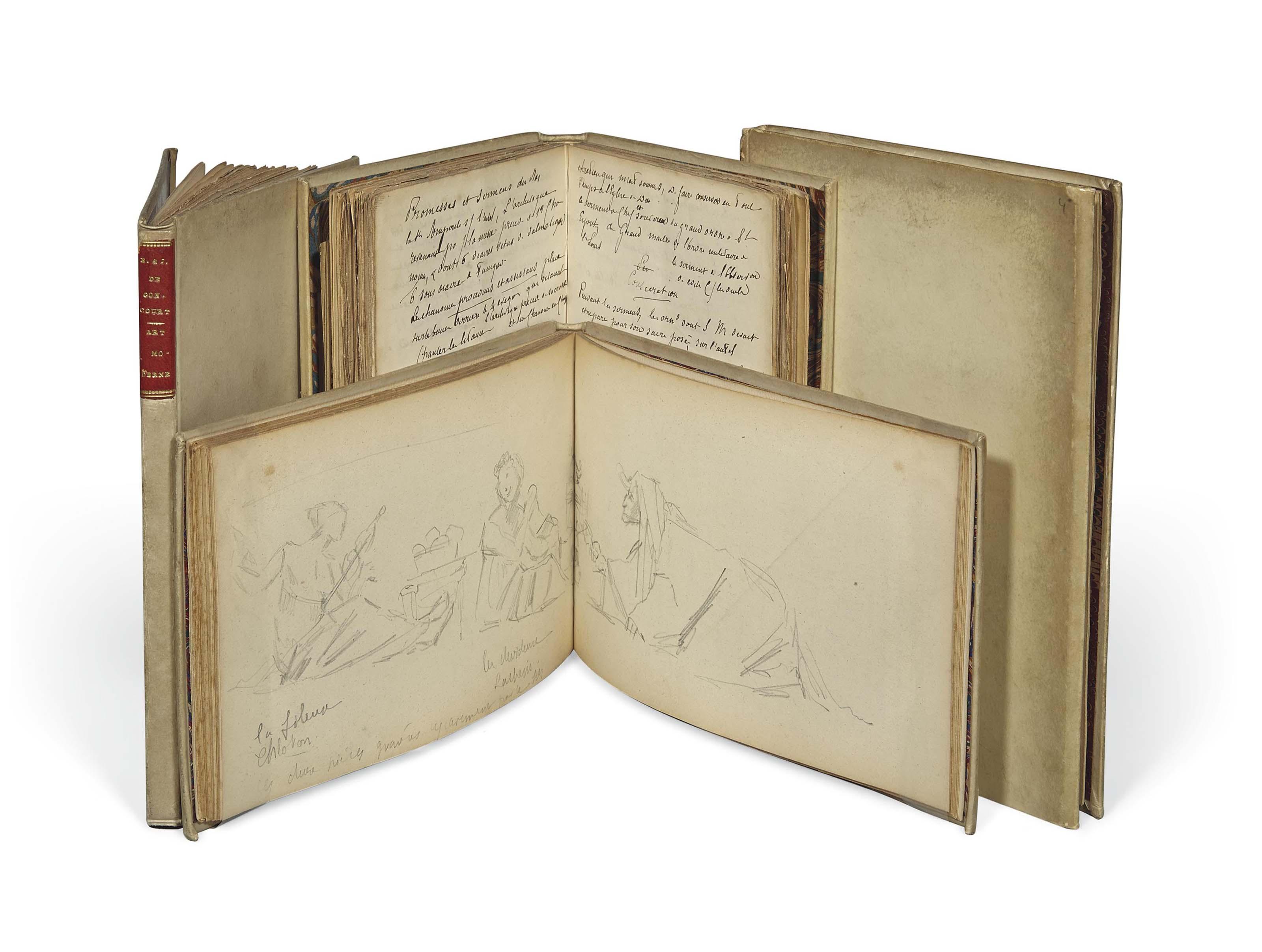 GONCOURT, Edmond & Jules de (1822-1896 et 1830-1870). Notes autographes apparemment inédites des frères Goncourt qu'Alidor Delzant (1848-1905), secrétaire puis légataire universel d'Edmond de Goncourt, réunit en quatre recueils et fit relier en vélin à recouvrements (légèrement taché).