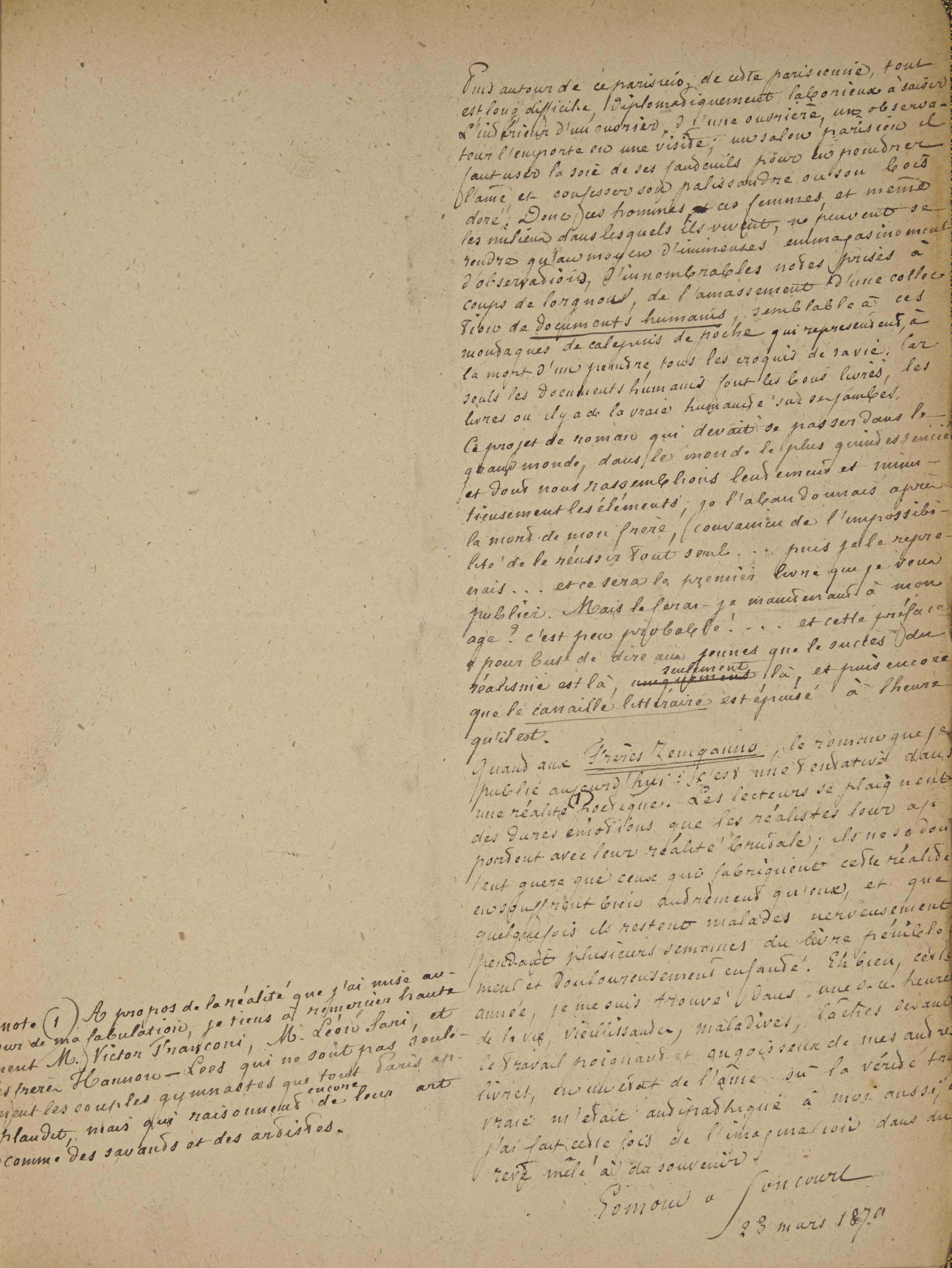 """GONCOURT, Edmond de (1822-1896). Les Frères Zemganno. Manuscrit autographe. Préface signée """"Goncourt"""" et datée """"23 mars 1879"""""""