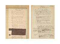"""VERLAINE, Paul (1844-1896). D'auculnes. Manuscrit autographe signé """"P. Verlaine"""" sur le premier feuillet. Entre 1888 et 1890, seuls 5 poèmes sont précisément datés."""